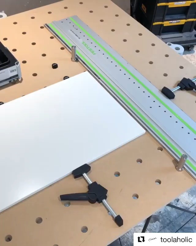 If you haven't seen already @toolaholic takes his install to the next level with the addition of this simple table top, cnc accuracy and to original @festool_usa MFT spacing. If you're interested see link in profile... And a huge thanks to all 5000 of you who follow, much appreciated 🙏  #Repost @toolaholic (@get_repost) ・・・ The MFT style worktops are awesome when it comes to processing cuts as well. - With a combination of stop dogs and rail dogs, you can get a perfect 90 or 45* cut. - Of course you could also use an Insta square, but this table really helps for long rips as well, and you can clamp your piece in place so its rock solid. - We used this table to build all the boxes and drawers as well. DM @popeofwood for one if you are in the GTA. - #festool #tracksaw #installation #kitchen #popeofwood #woodstudio