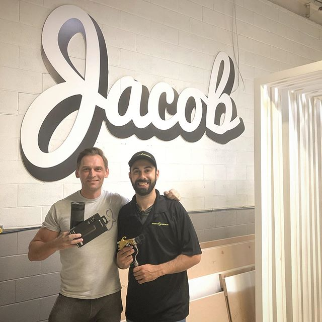 An absolute pleasure to meet up and chat with @jacobpainting These guys really do take a lot of pride in their work and their shop organization is on point. I'll be putting this gun to the test very soon, thanks for the sweet prizes. @sameskremlin