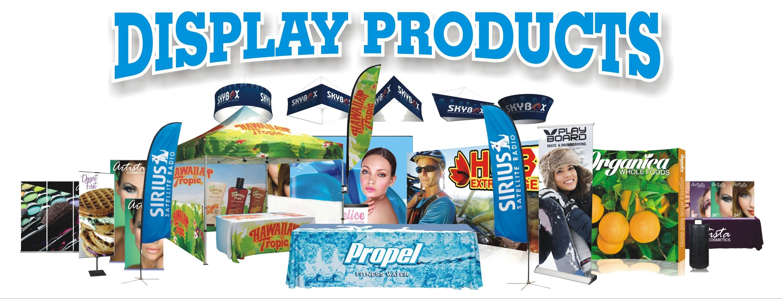 K&M Graphics  has added a variety of signs and display products to our production line. We now offer quality outdoor feather and teardrop banners, outdoor pop up displays, retractable banners and stands,indoor hanging banners and much more. If you go to  kmgraphics.org  and click on the Display Products image on the home page, it will take you to our new catalog. Take a look and feel free to contact us for a free quote. From signs, vehicle wraps, and now display products, we have your graphics needs covered.