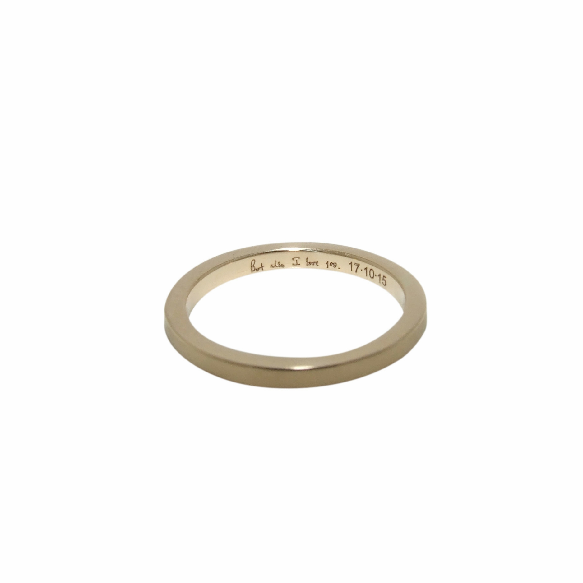 14k yellow narrow wedding band with personalized engraving