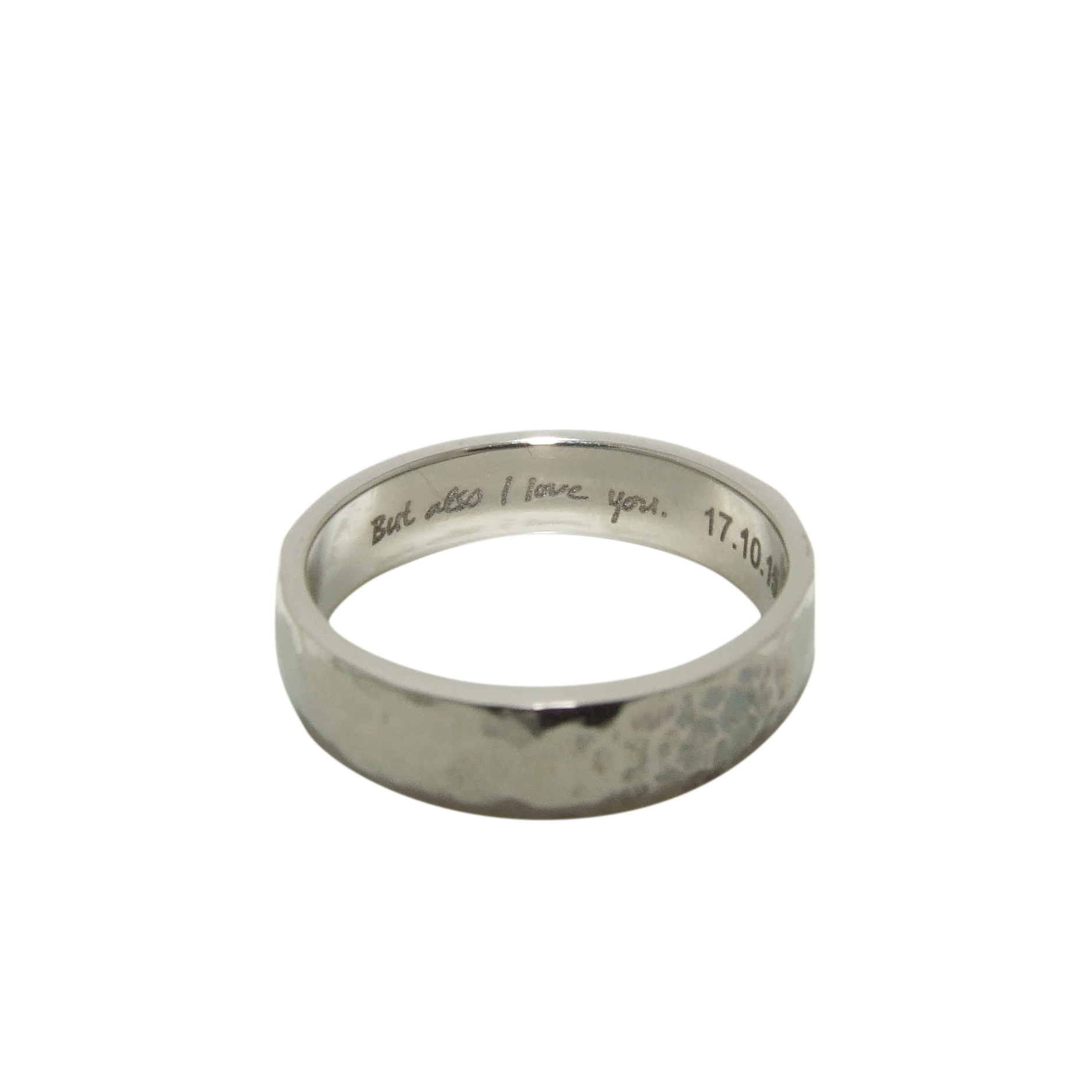 14k white gold hammered wedding band with personalized engraving