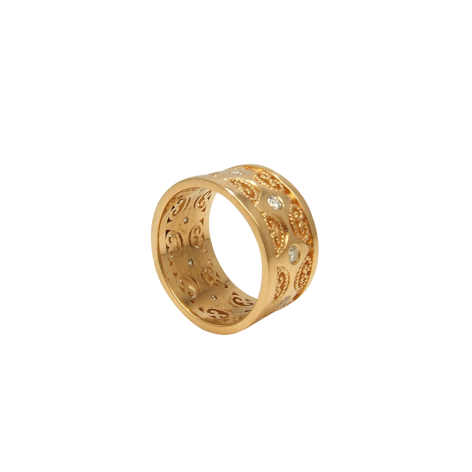 18k yellow gold (22k plated) ring with diamonds