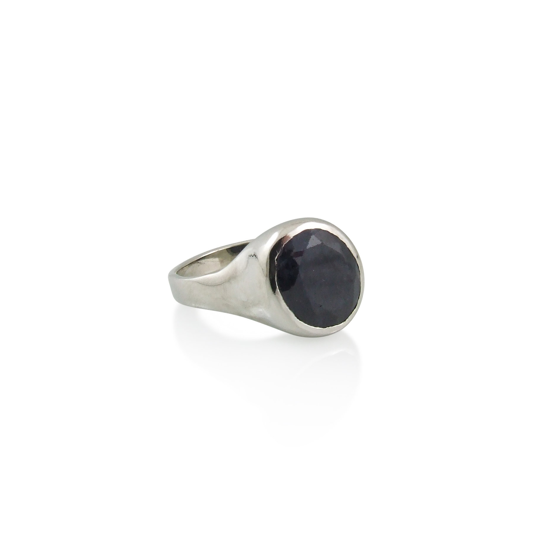 10k white gold with clients own Dark Blue Oval Sapphire