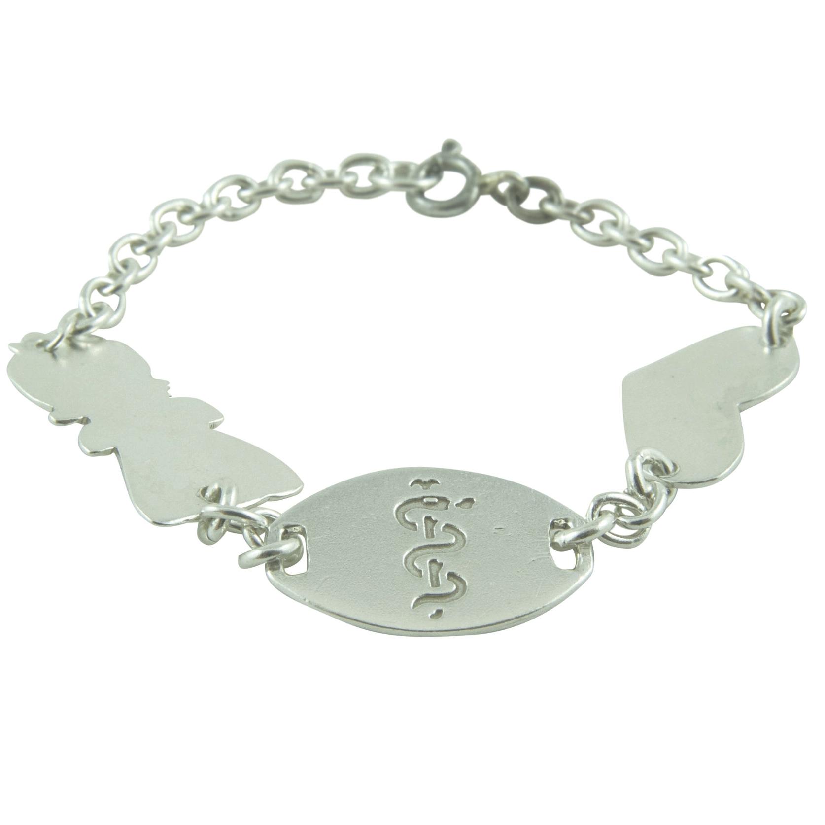Sterling Silver Medical Alert Bracelet. Name & Address (not shown) on girl & heart