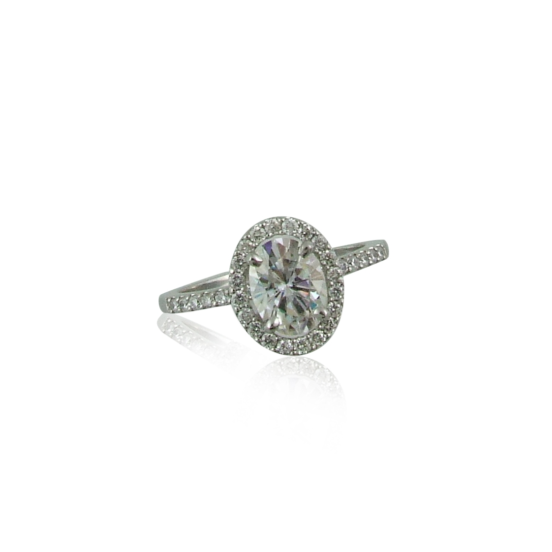Forever One 8x6mm Oval Moissanite with VS, F Round Diamonds set in Platinum
