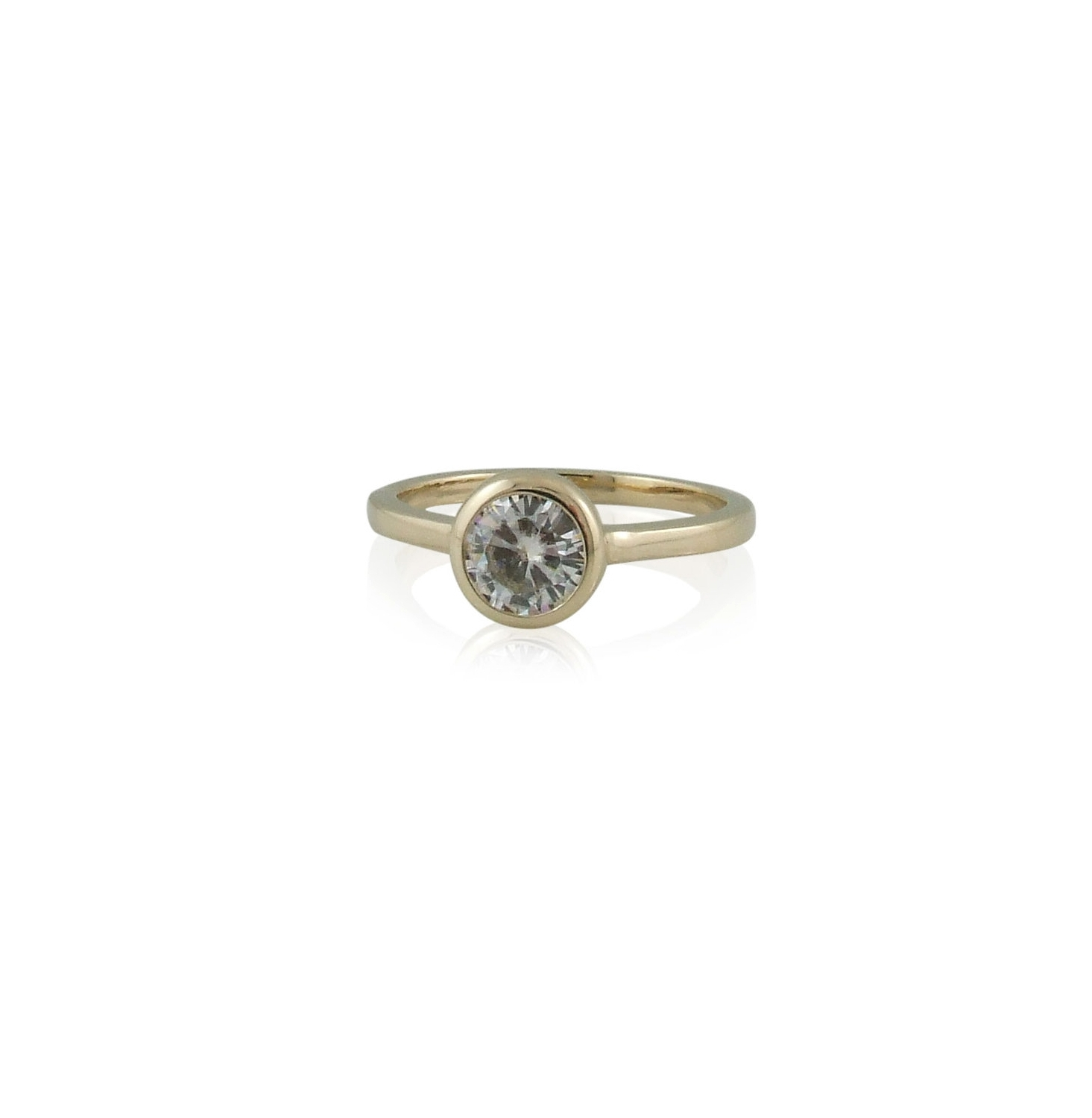 Forever One 6mm Round Moissanite set in 14k yellow gold