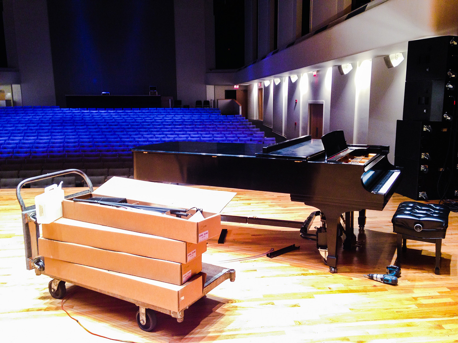 Grand Piano Life Saver Installation in a concert hall