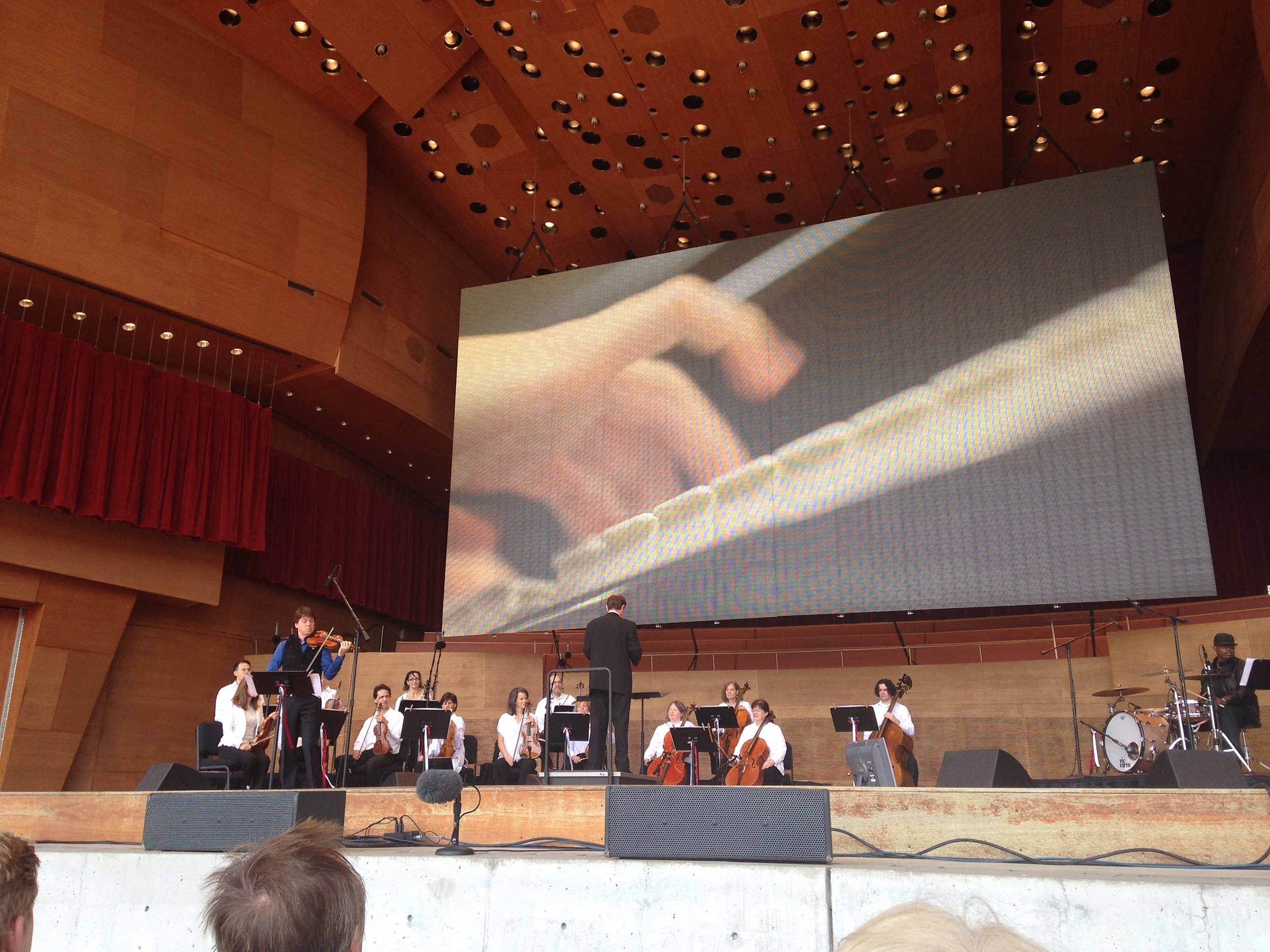I felt very blessed to be able to come and watch the rehearsal at Millennium Park with Joshua Bell on the left.