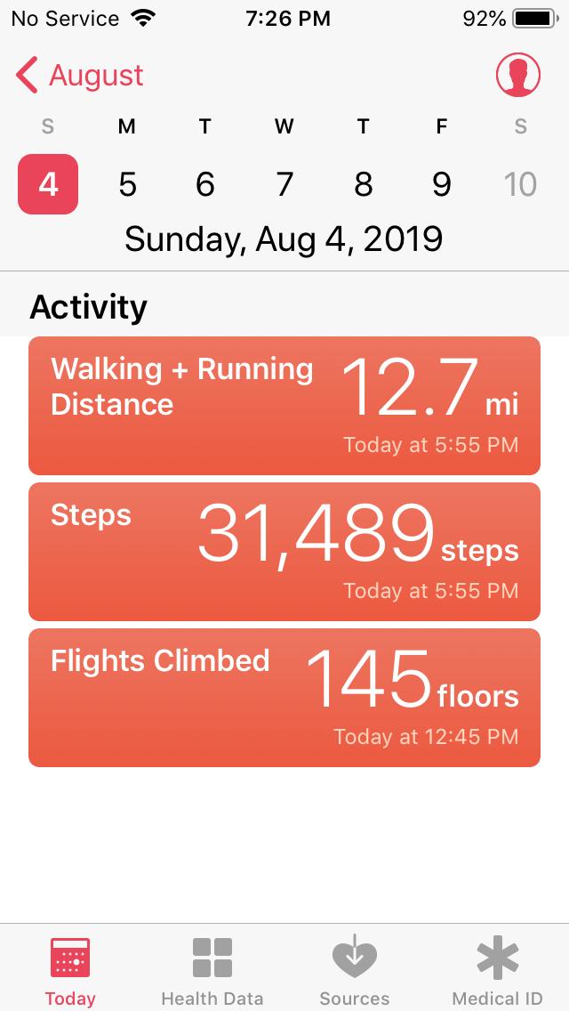 Sky Pond hike stats. Elevation gain 1,765 feet.