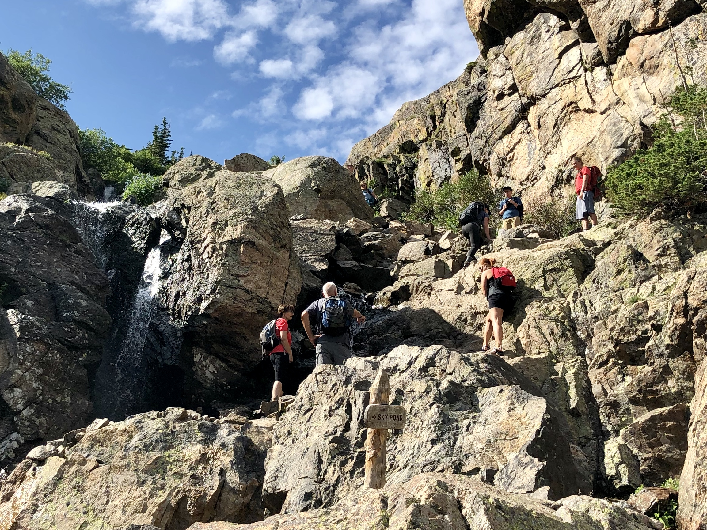 Scrambling up the waterfall to get to Sky Pond