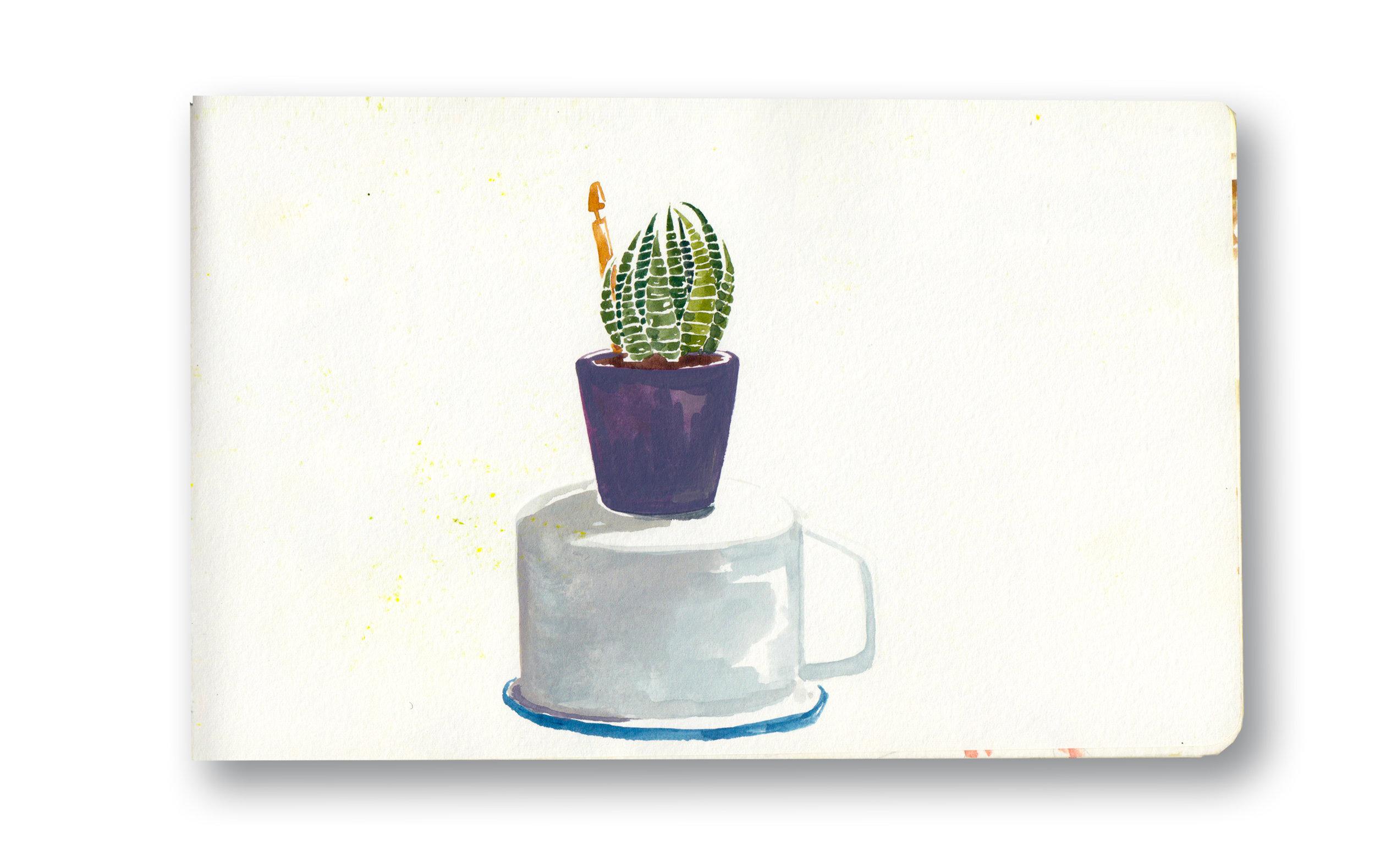 "Succulent in Purple pot - Durban, Sa  Watercolor & Gouache - MOleskine Sketchbook 5 x 8.25"""