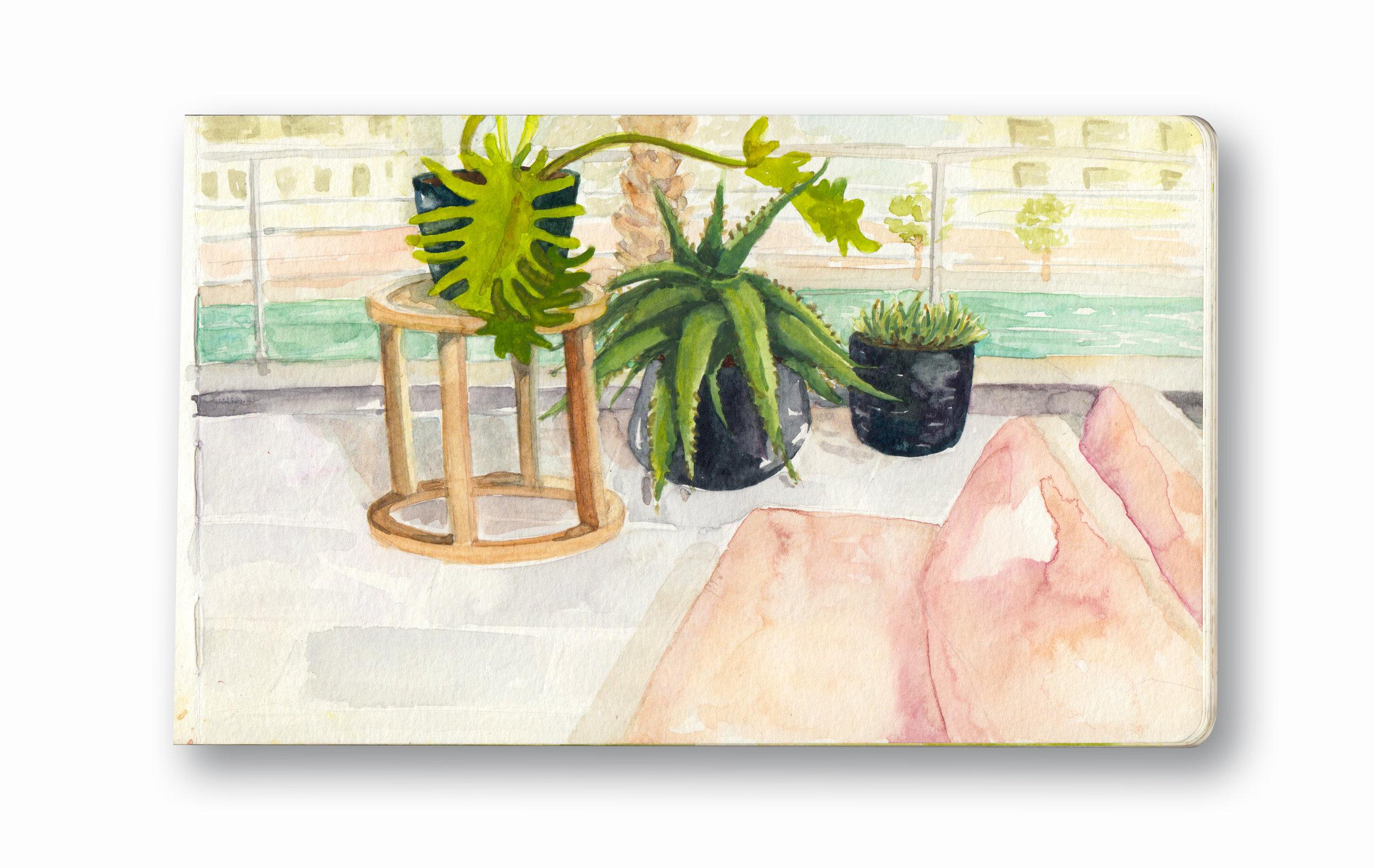 "Waterfront Balcony - V&A Marina, Cape Town, Sa  Watercolor & Gouache - MOleskine Sketchbook 5 x 8.25"""