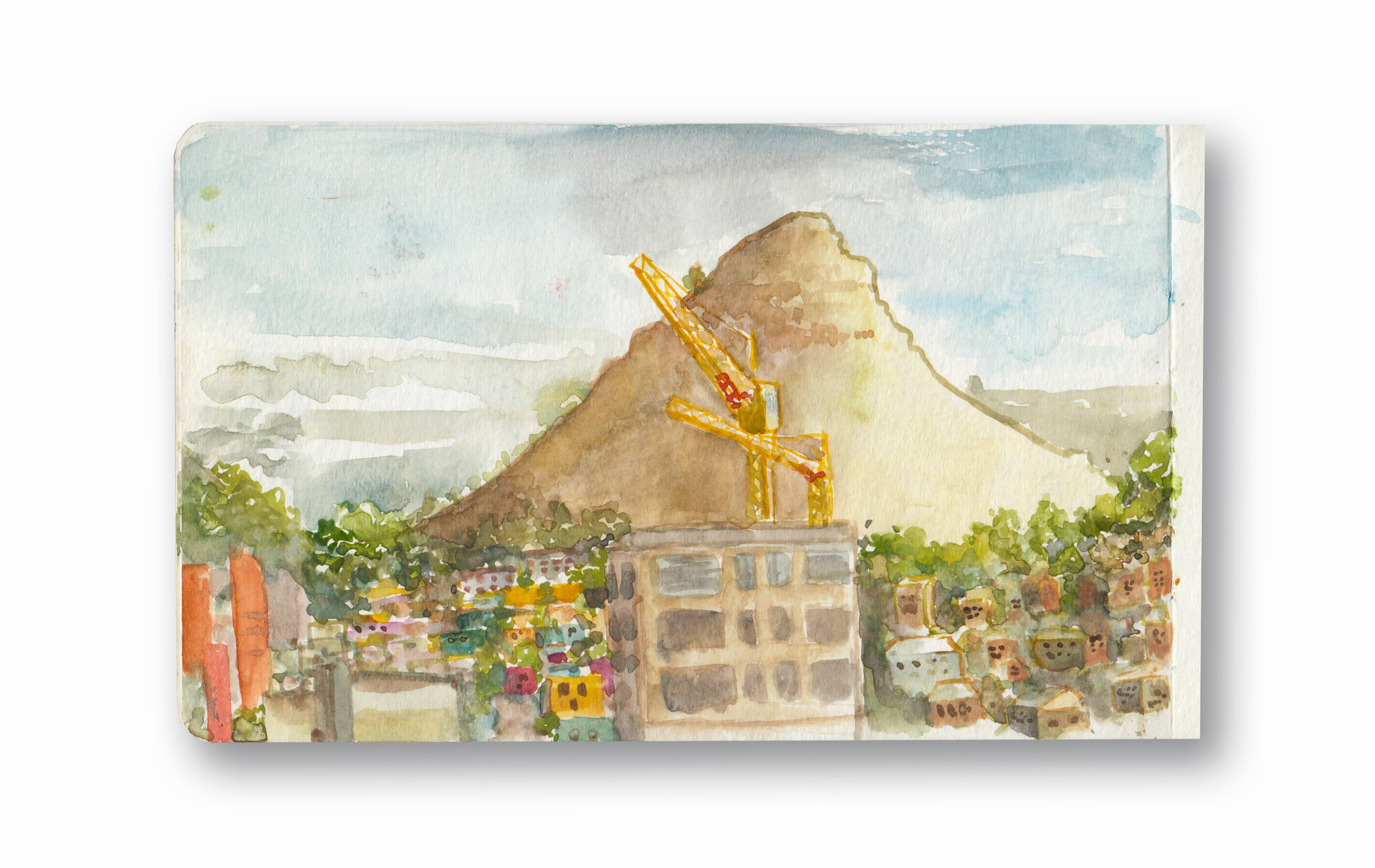 """Lions Head, from our Balcony - Cape Town. Sa  Watercolor & Gouache - MOleskine Sketchbook 5 x 8.25"""""""