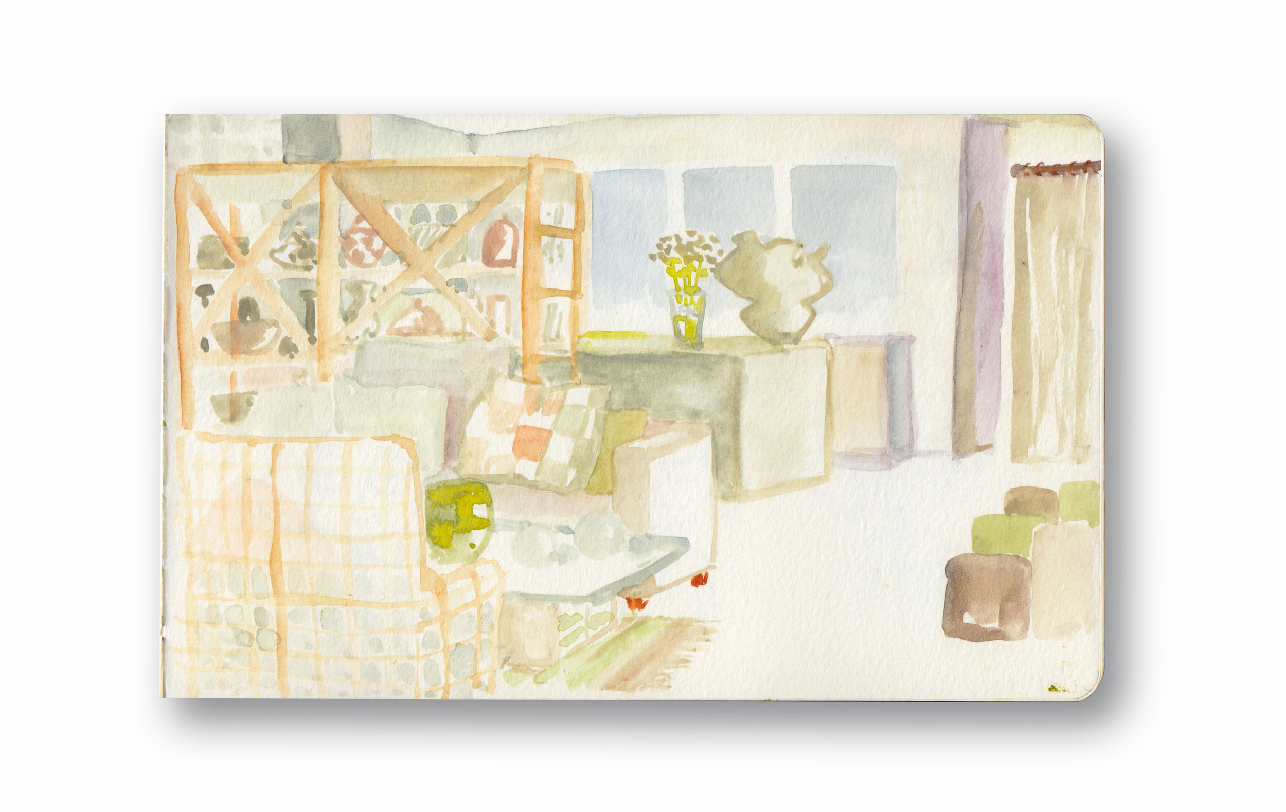 "The Downey's House - Durban, Sa  Watercolor & Gouache - MOleskine Sketchbook 5 x 8.25"""