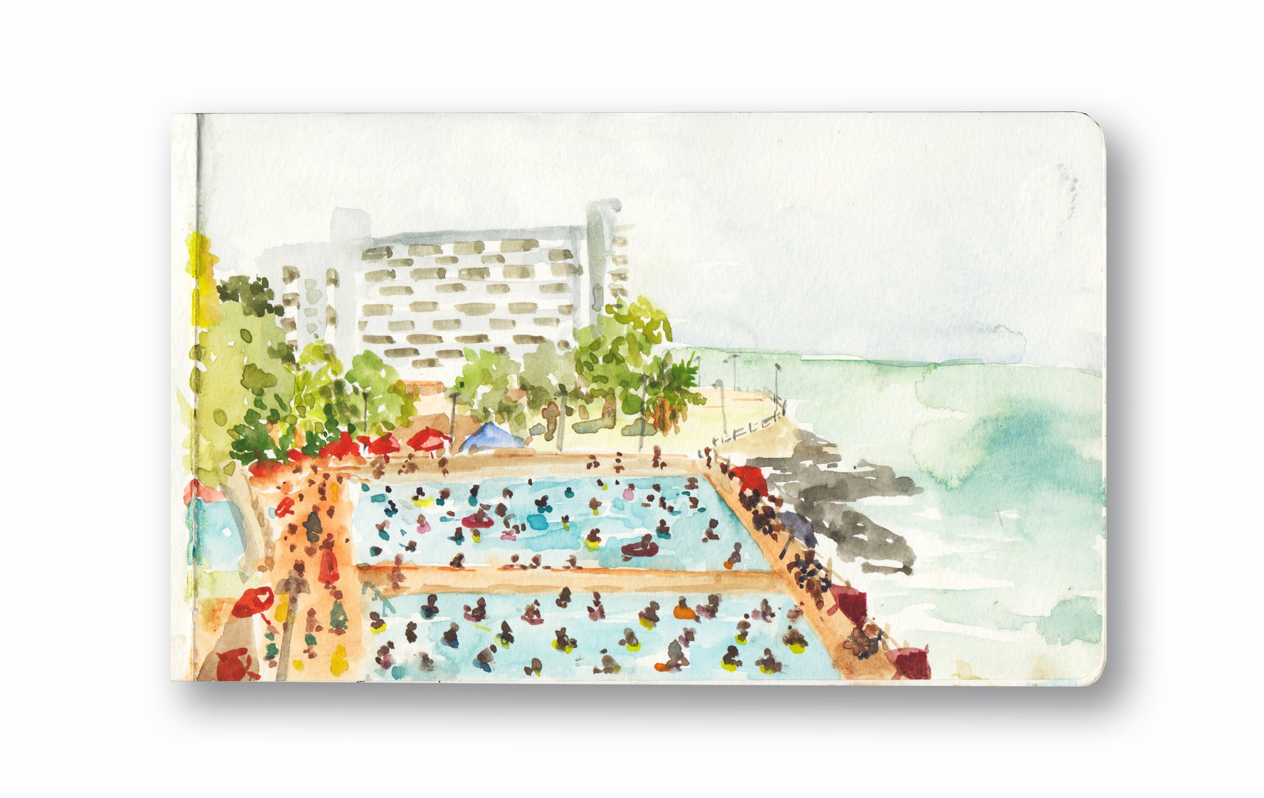 """Sea point Pools, on a hot summer day - Cape town, Sa  Watercolor & Gouache - MOleskine Sketchbook 5 x 8.25"""""""