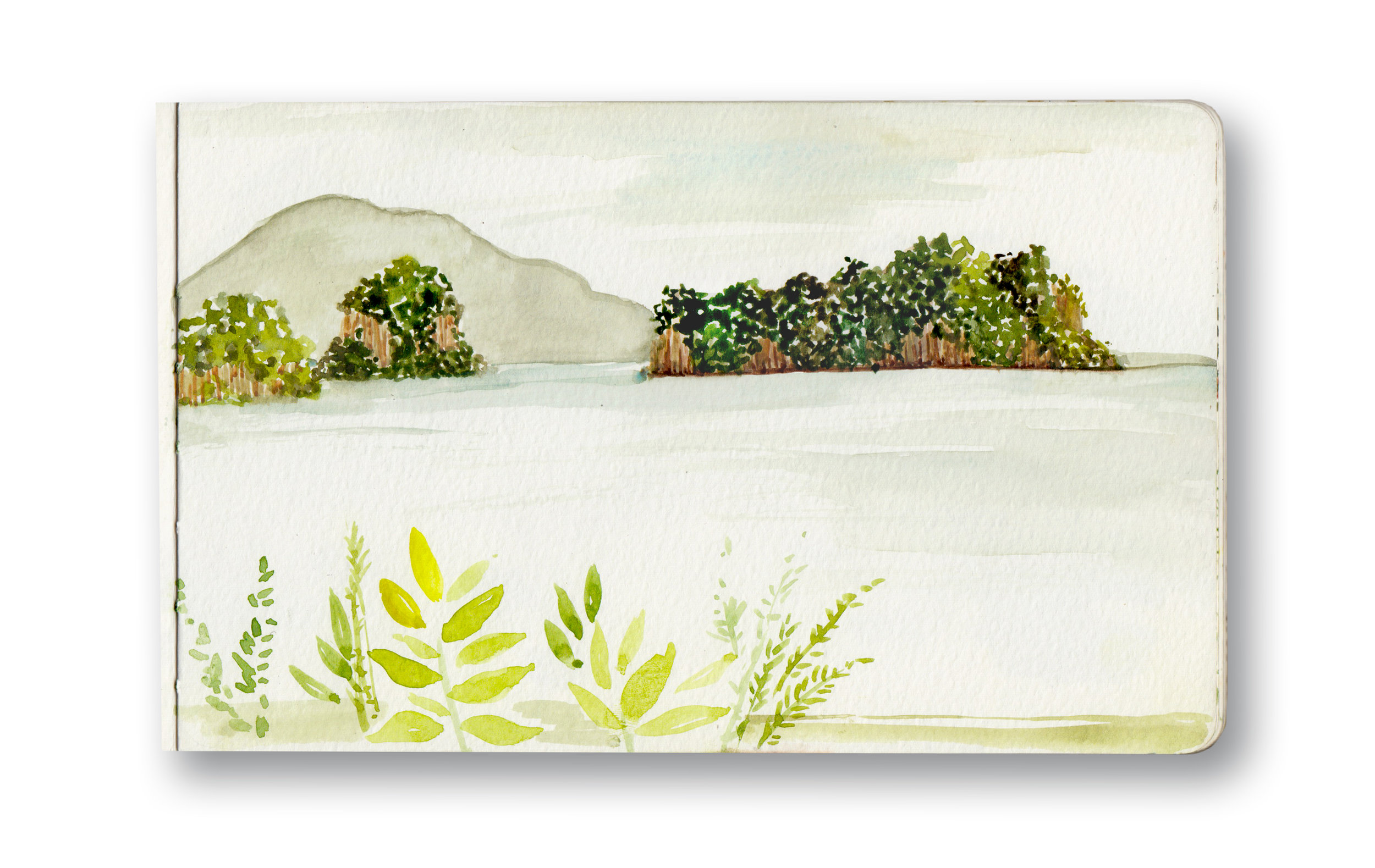 """Ko Yao Noi - Thailand  Watercolor & Gouache - MOleskine Sketchbook 5 x 8.25"""""""