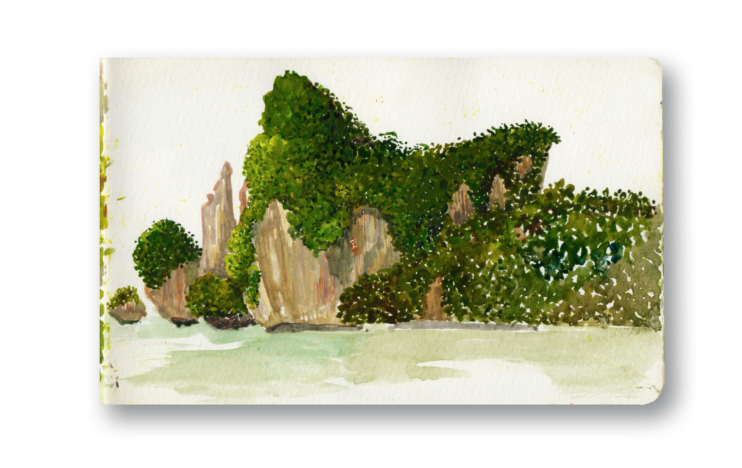 """View From Main Beach - Phi Phi, Thailand  I met a nice english guy who quit his job to travel and take pictures, he was very nice, I Painted until it was too dark to see the island.  Watercolor & Gouache - MOleskine Sketchbook 5 x 8.25"""""""