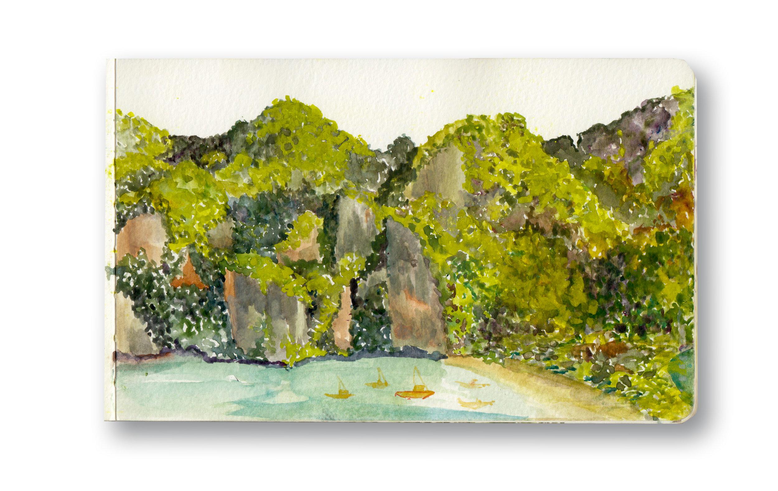 "ViewPoint - Phi Phi, Islands  Watercolor & Gouache - MOleskine Sketchbook 5 x 8.25"""