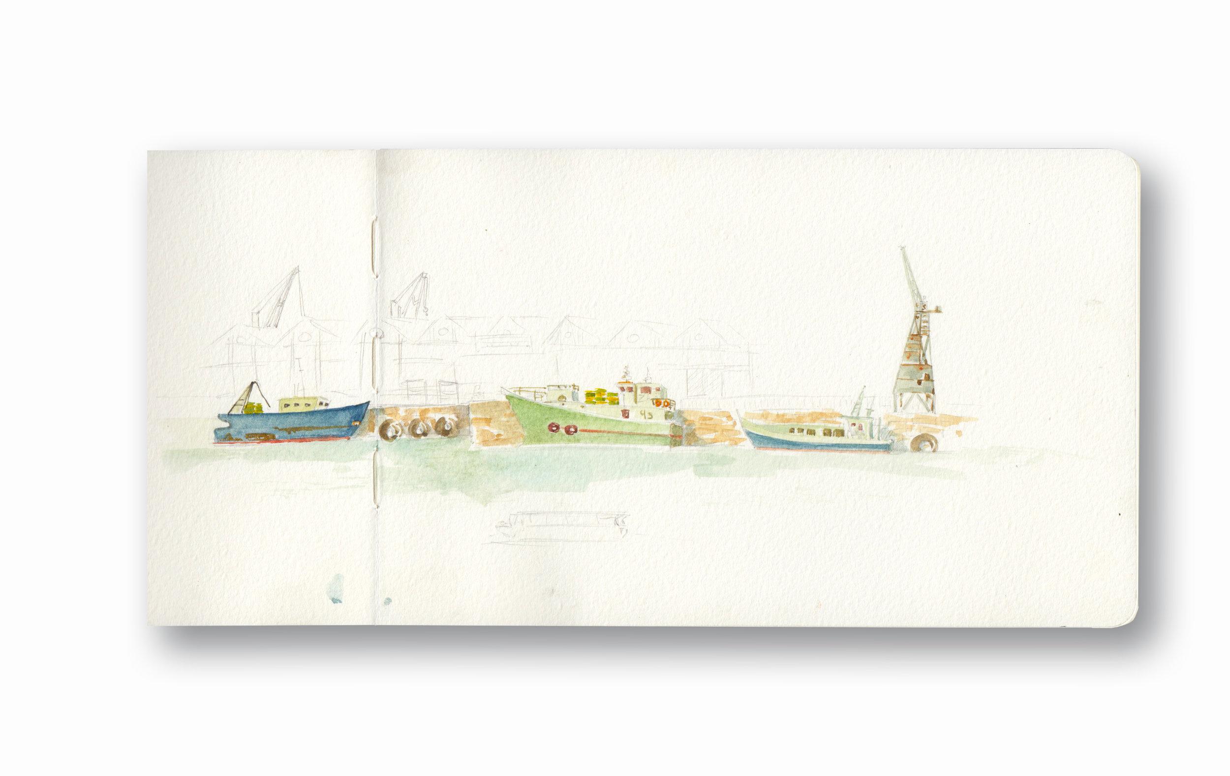 "Cape Town Harbor, View From V&A Mugg & Bean - Cape Town, Sa  Watercolor & Gouache - MOleskine Sketchbook 5 x 8.25"""