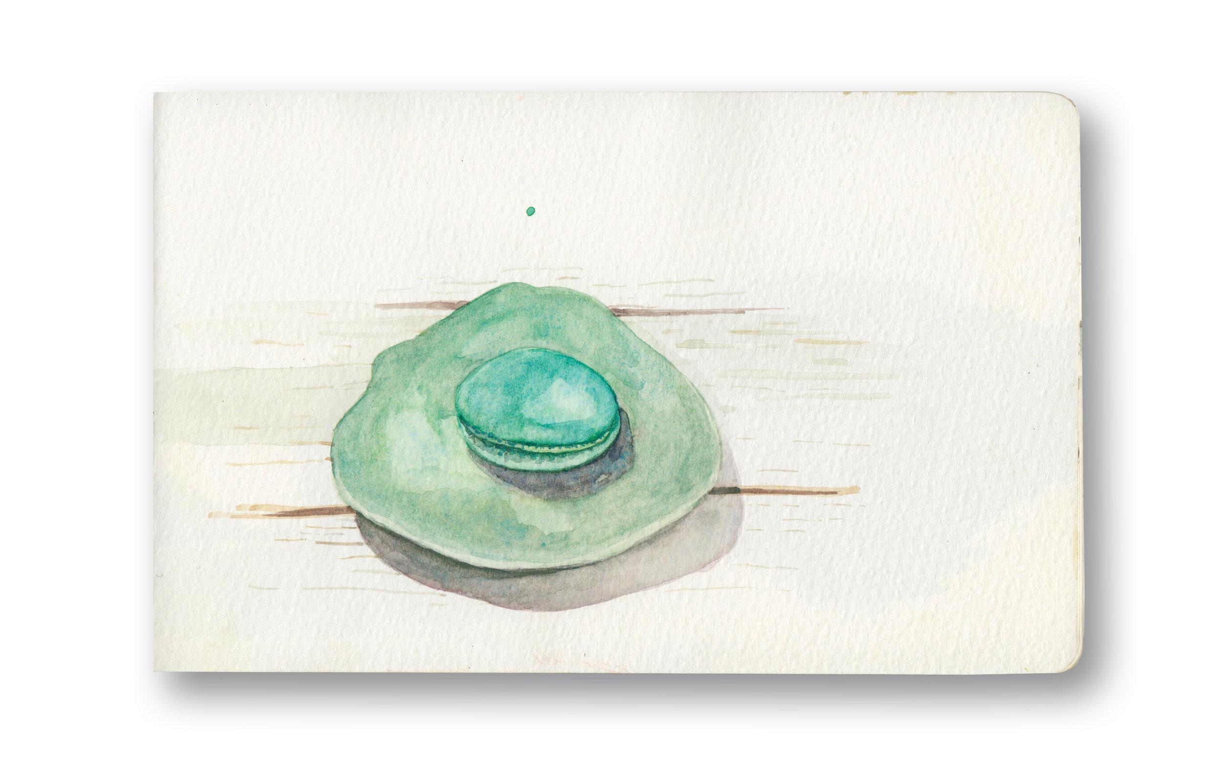 """Blue Macaroon - Ko Yao Noi, Thailand  Watercolor & Gouache - MOleskine Sketchbook 5 x 8.25"""""""