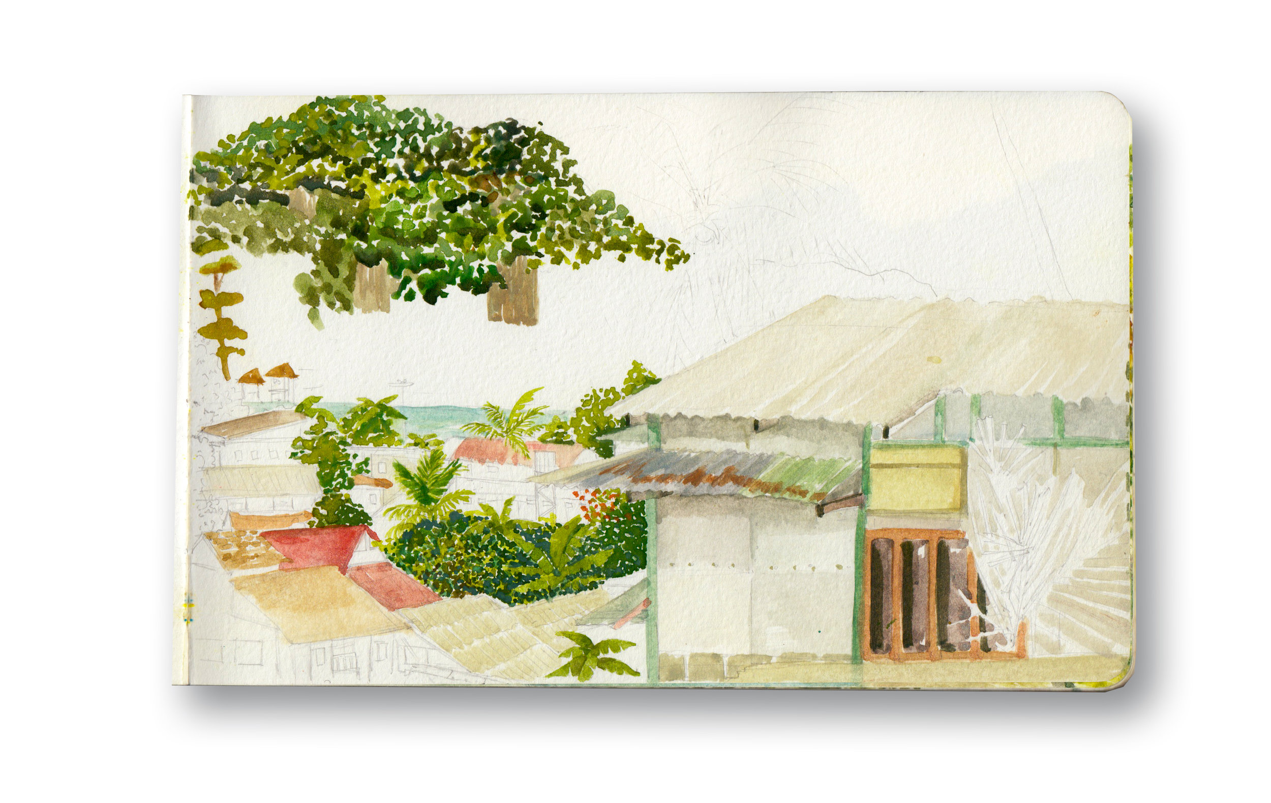 """View from My Balcony - Phi Phi, Thailand  Watercolor & Gouache - MOleskine Sketchbook 5 x 8.25"""""""