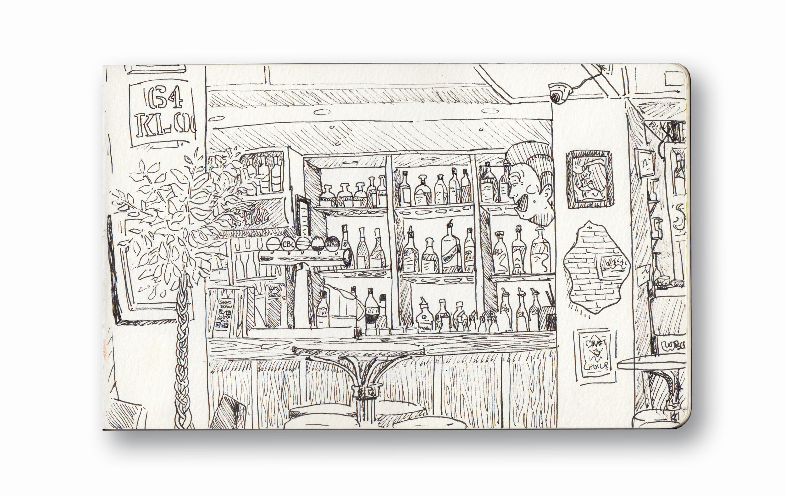 "Slug & Lettuce - Cape Town, SA    Pen Ink in Moleskine 5 x 8"""