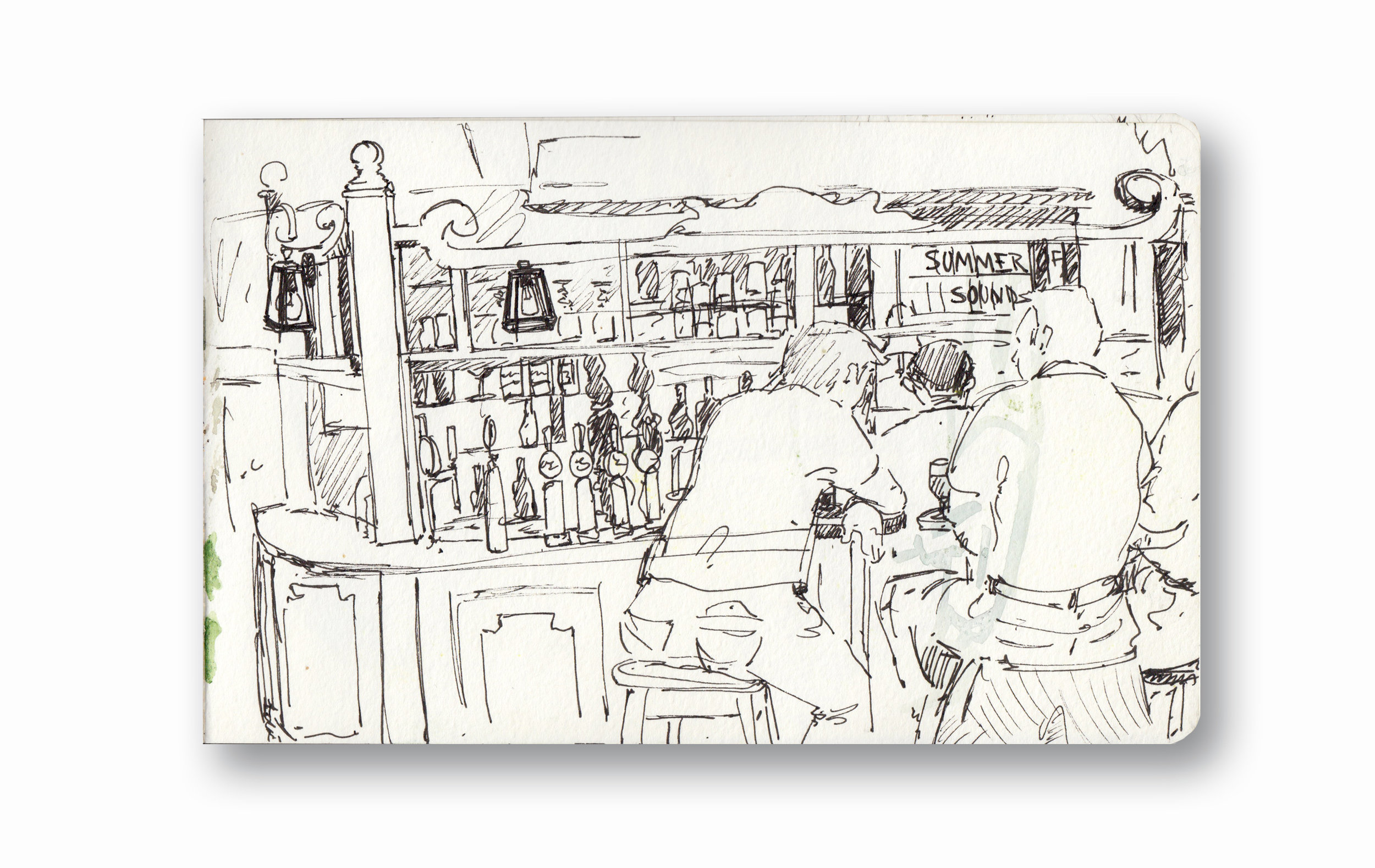 "Very Old Bar in London - London, UK    Pen Ink in Moleskine 5 x 8"""
