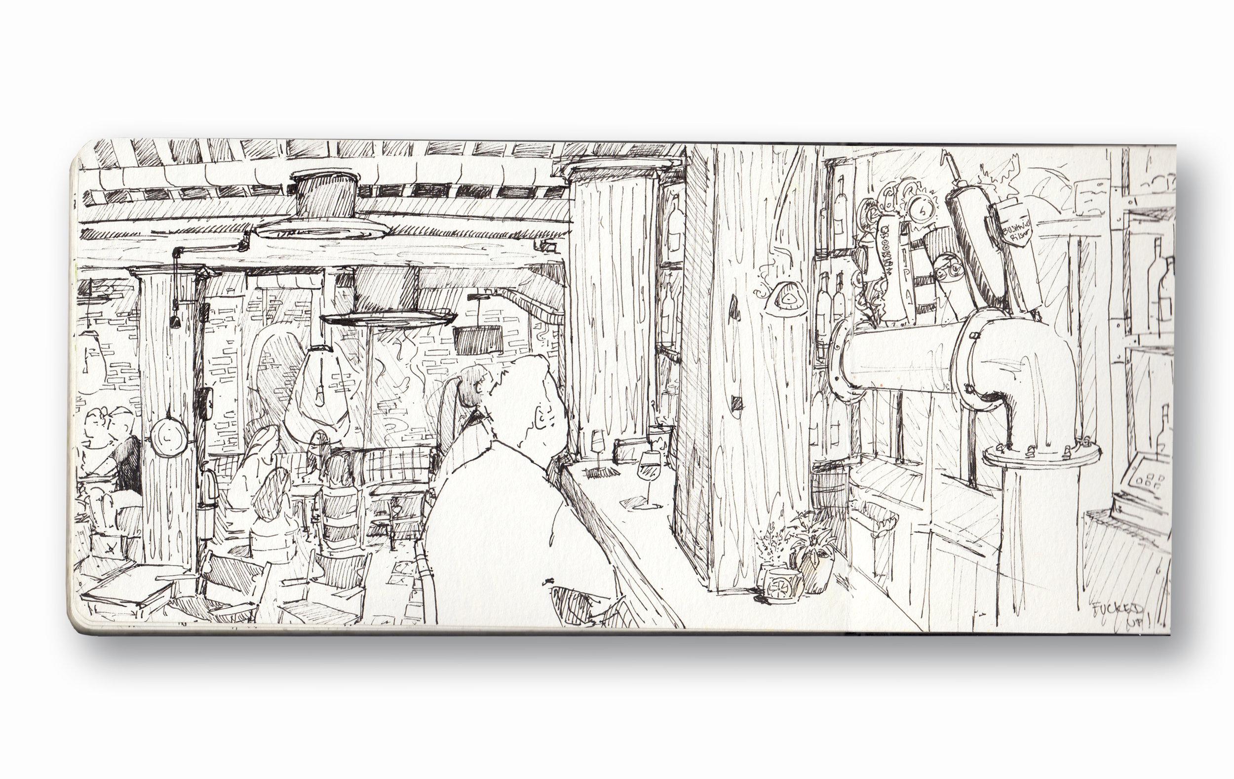 "Sugarcane Raw Bar - Dumbo Brooklyn, Ny   Pen Ink in Moleskine 5 x 8"""