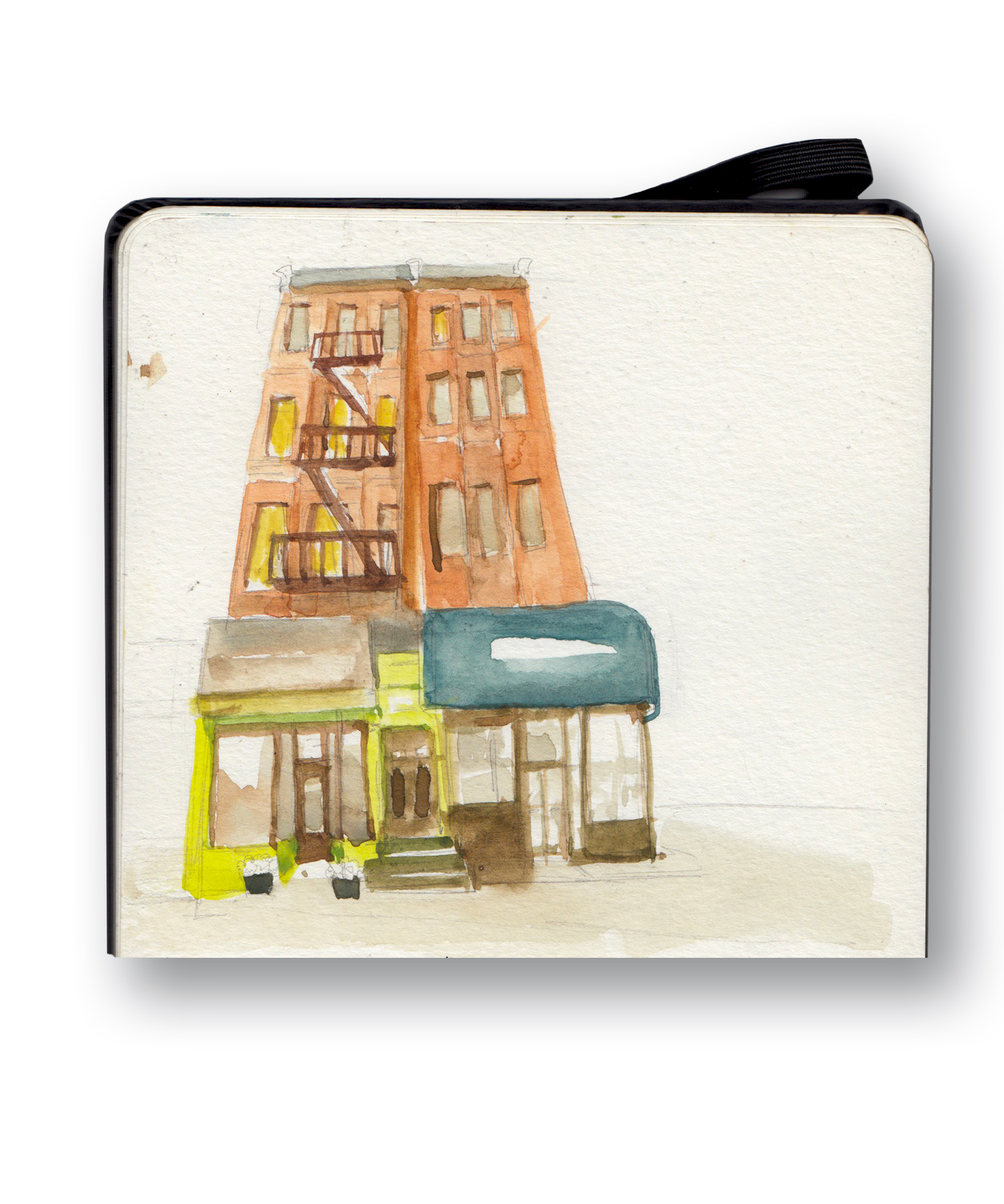 """Building in Brooklyn, I think the Blue Awning  is a Cleaners and the Green is a Florist - Carroll Gardens,  Brooklyn, NY  View From Abilene Bar  Watercolor & Gouache - MOleskine Sketchbook 5 x 8.25"""""""