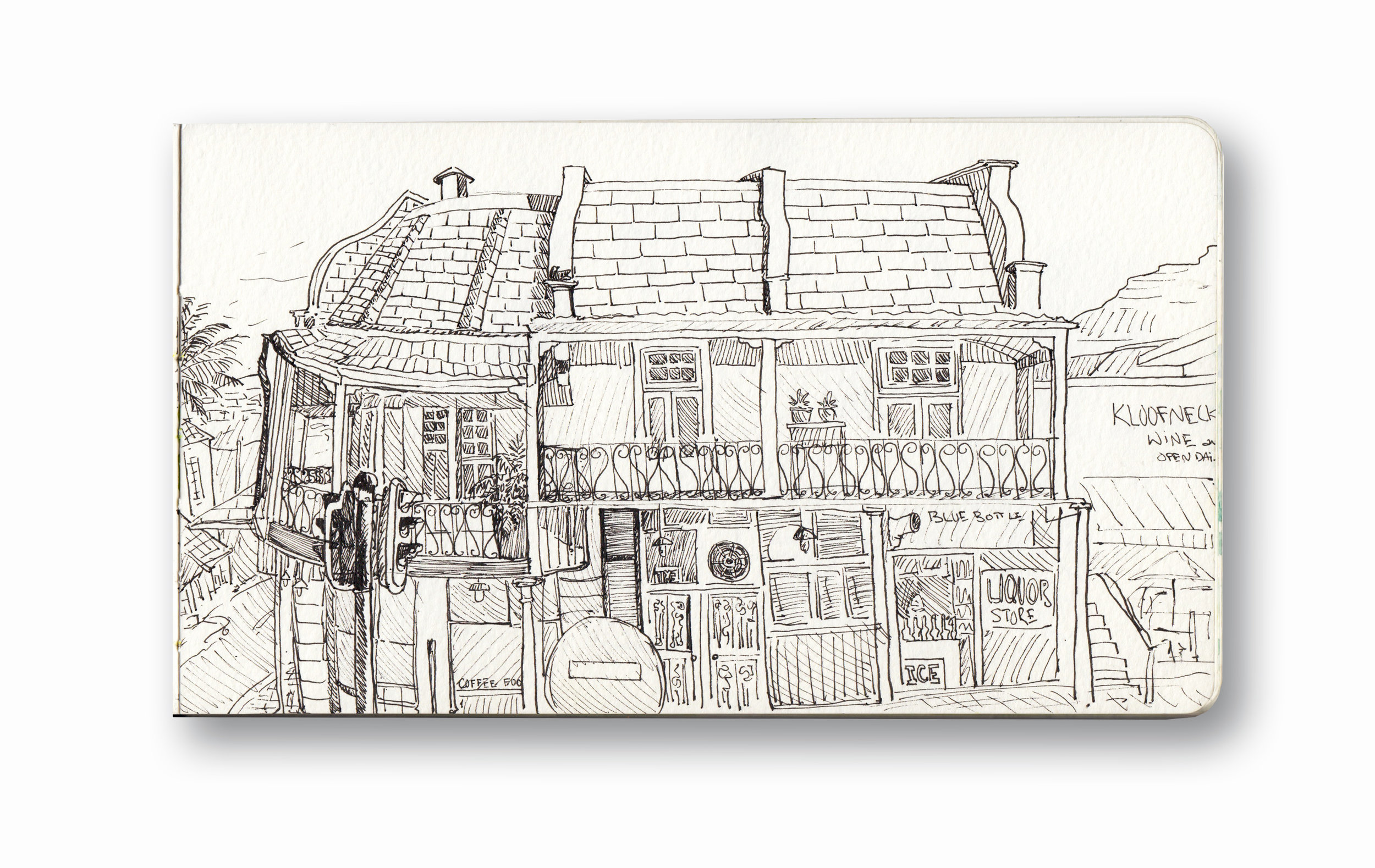 Kloofnek Street, The Power and the Glory, View from Beleza Tapas BAr - Cape Town, SA   Pen Ink in Moleskine 5 x 8""