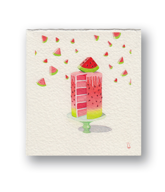 "Watermelon Cake  Gouache 3 x 4.5"""