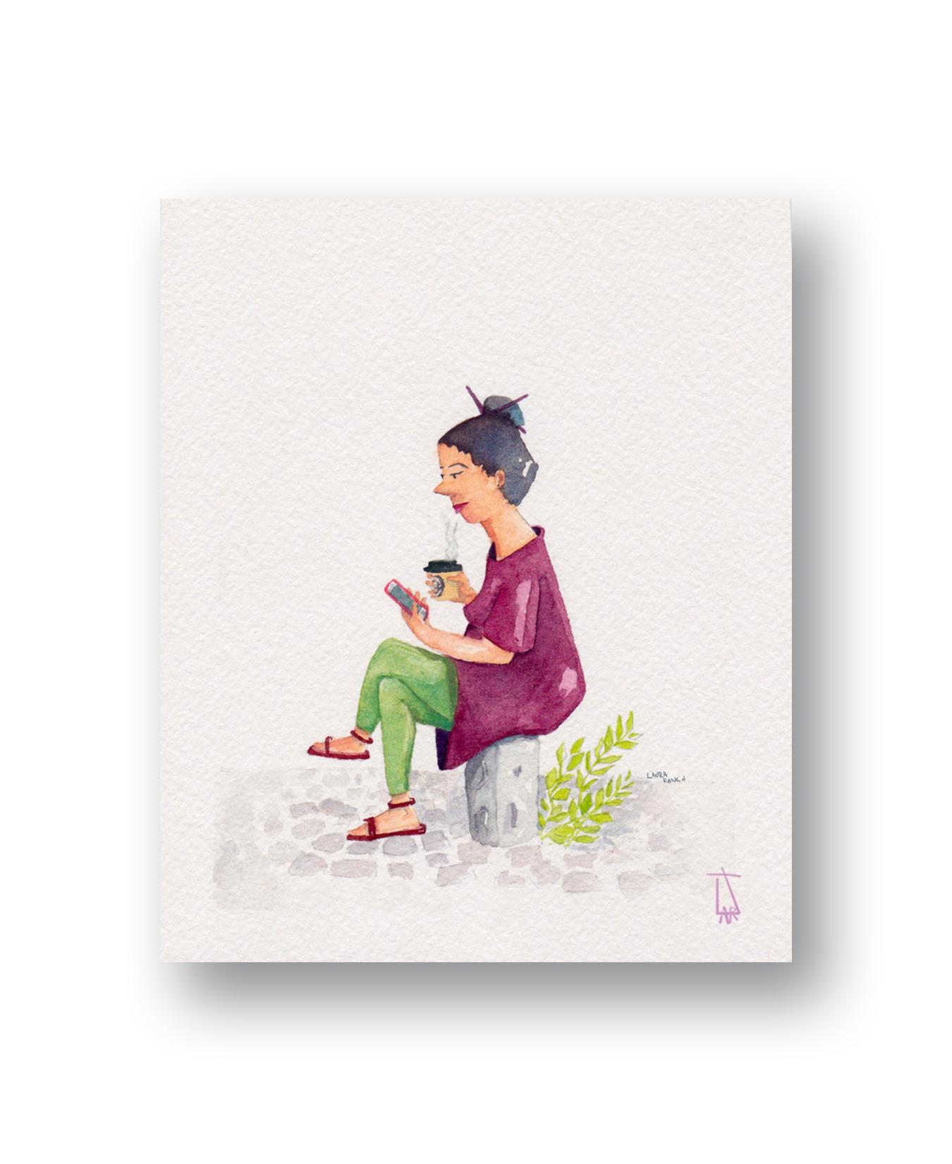 "Coffee Break 1 - Cape Town, Sa  Watercolor & Gouache 3 x 4"""
