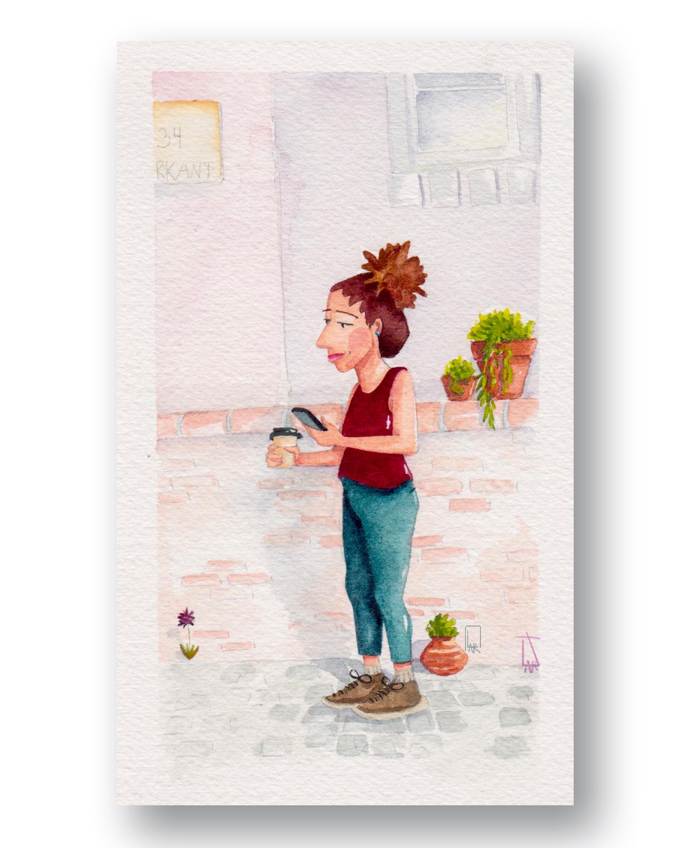 "Coffee Break 2 - Cape tOwn, Sa  Watercolor & Gouahce 4 x 6"""