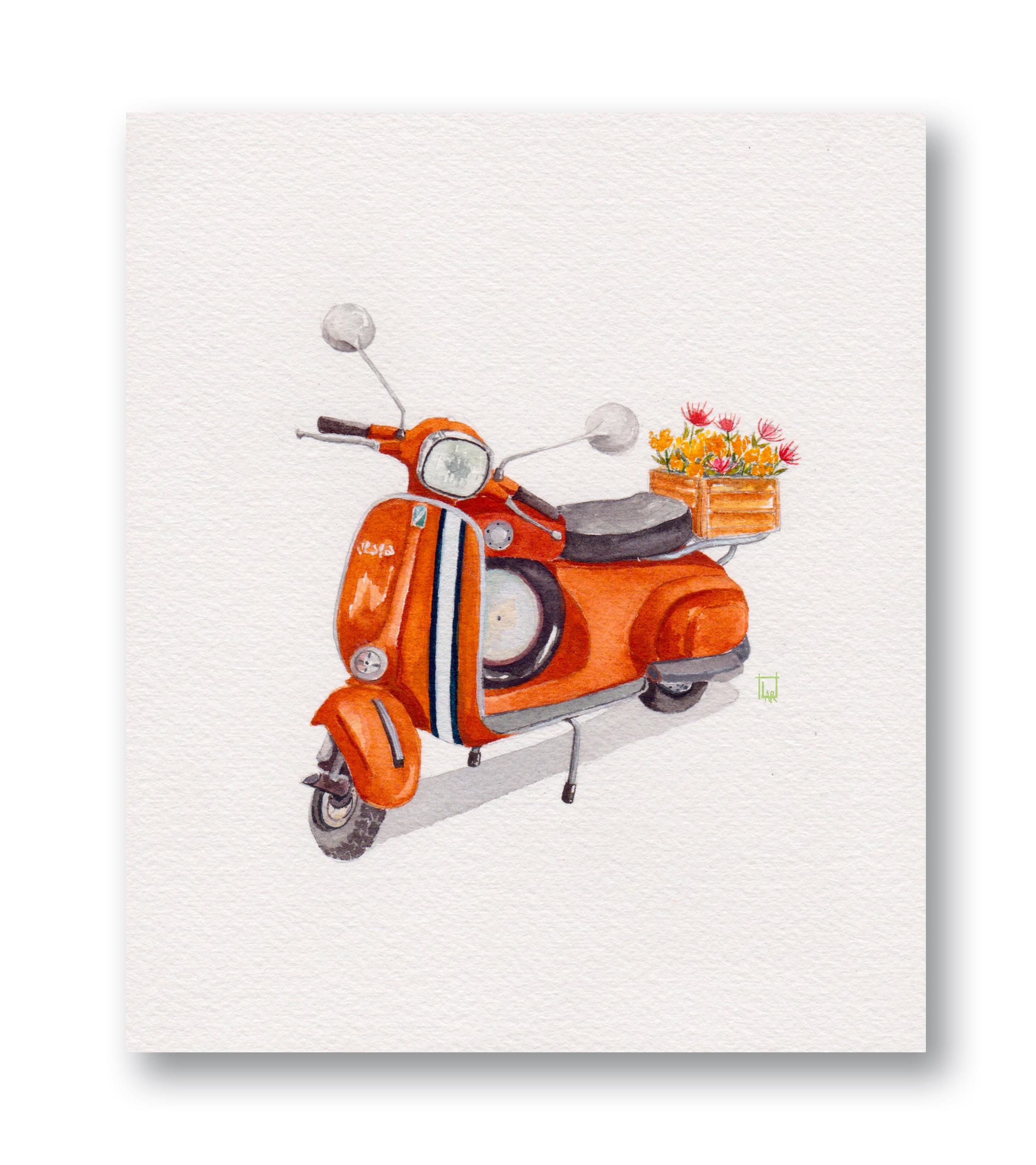 "Orange 60's Vespa  Gouache & Watercolor 6 x 7"""