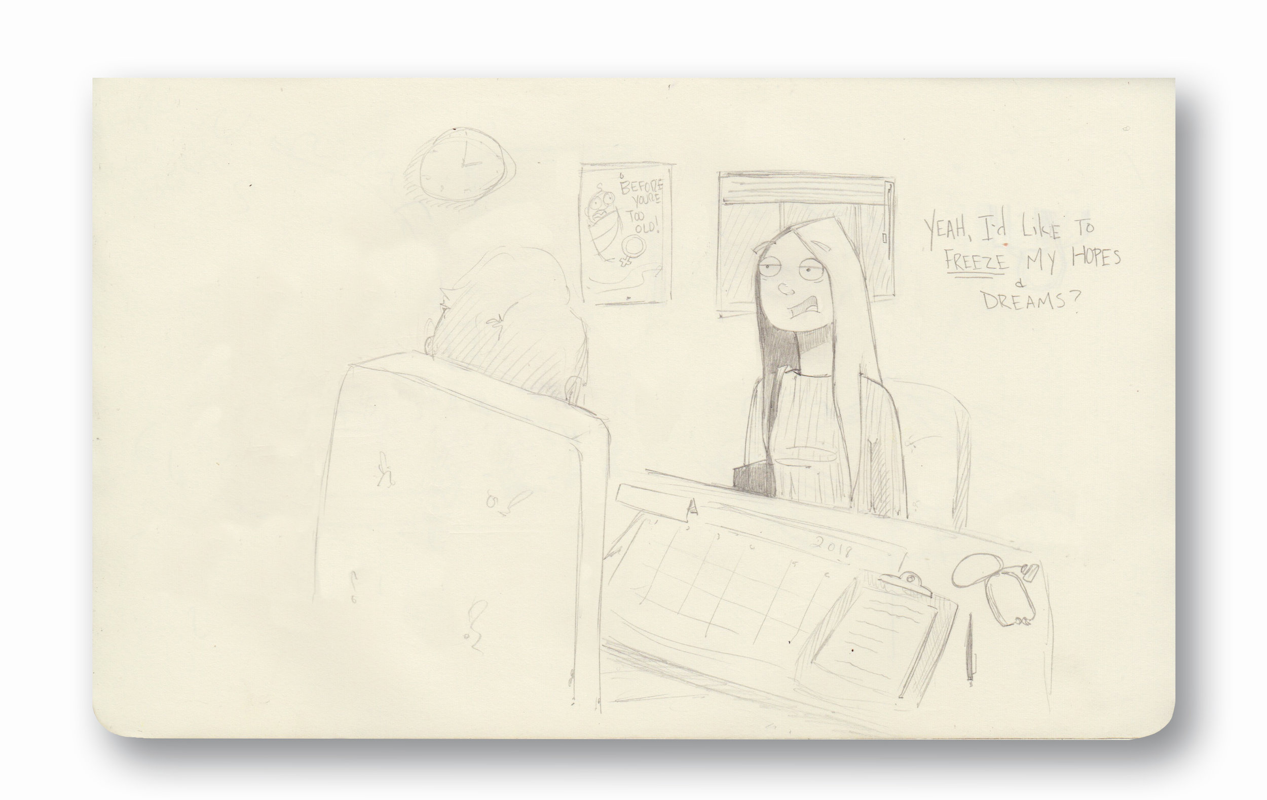 """Yeah, Can I put that on hold?  Pencil 8.5 x 5.25"""""""
