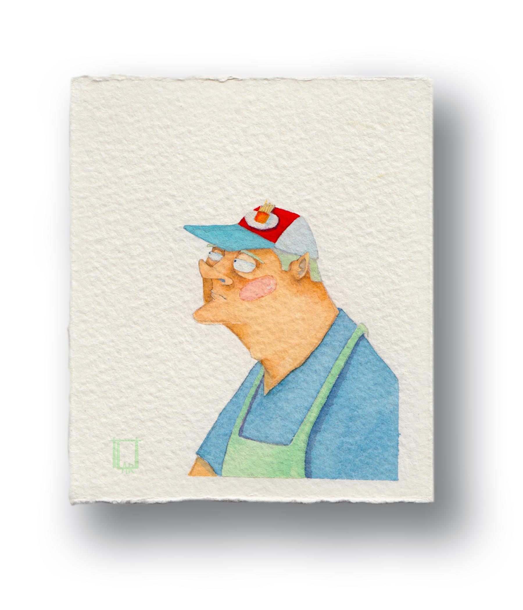 "French Frie Man  Gouache & Watercolor  3.5 x 4"""