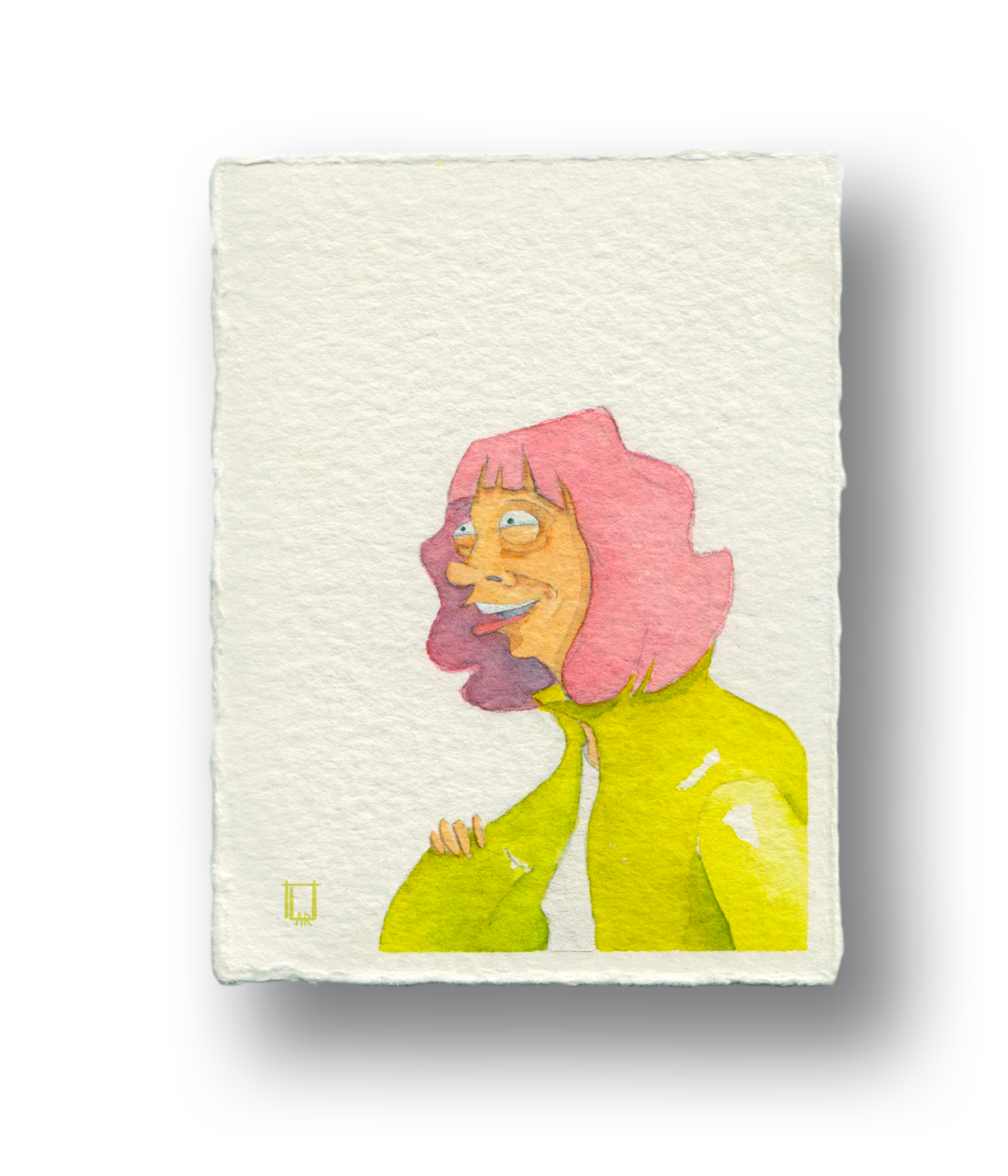 """Lady with the pink hair  Gouache & Watercolor  3 x 4"""""""