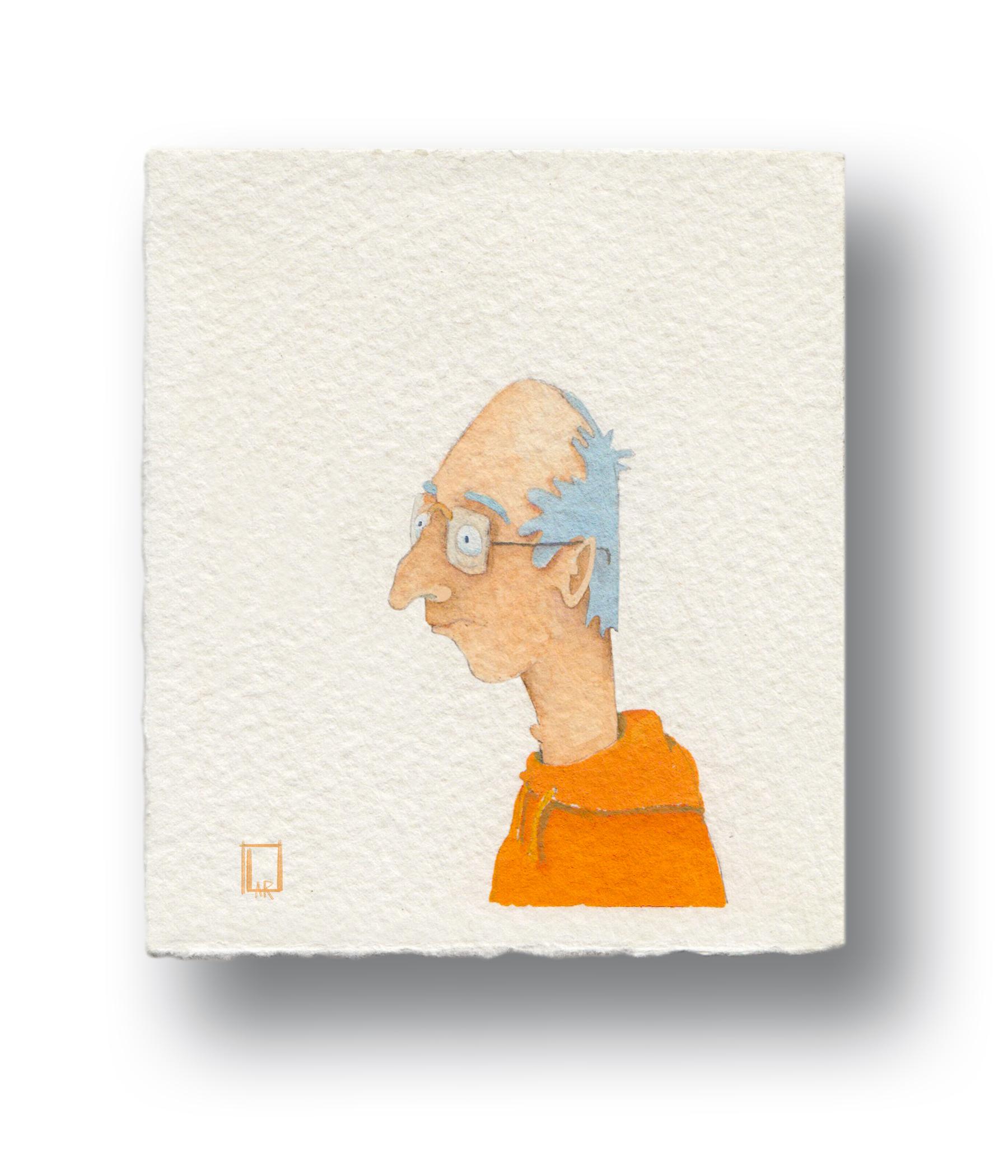 "Orange Sweatshirt Guy  Gouache & Watercolor  3.5 x 4"""