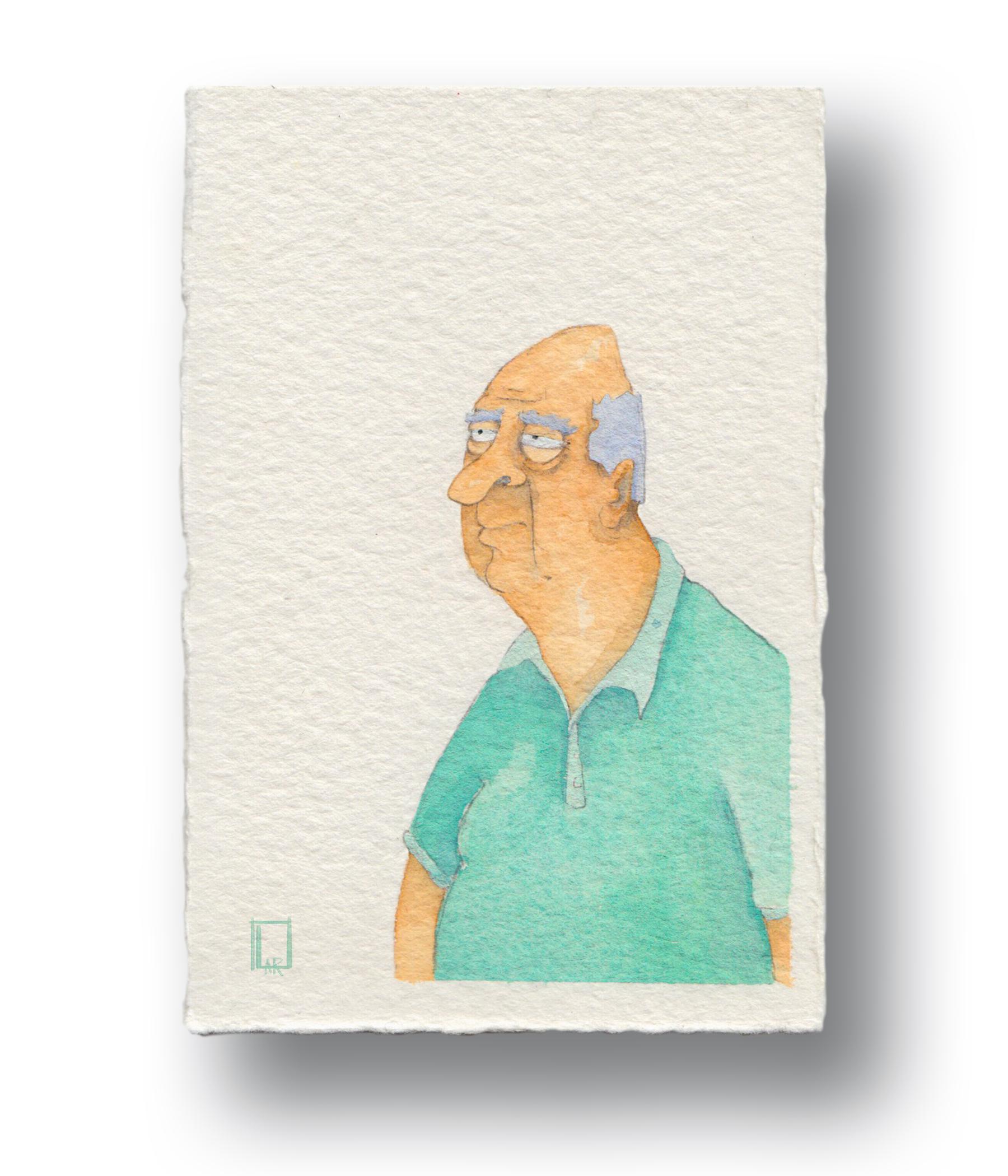 """Old man in a polo shirt  Gouache & Watercolor  3 x 5"""""""