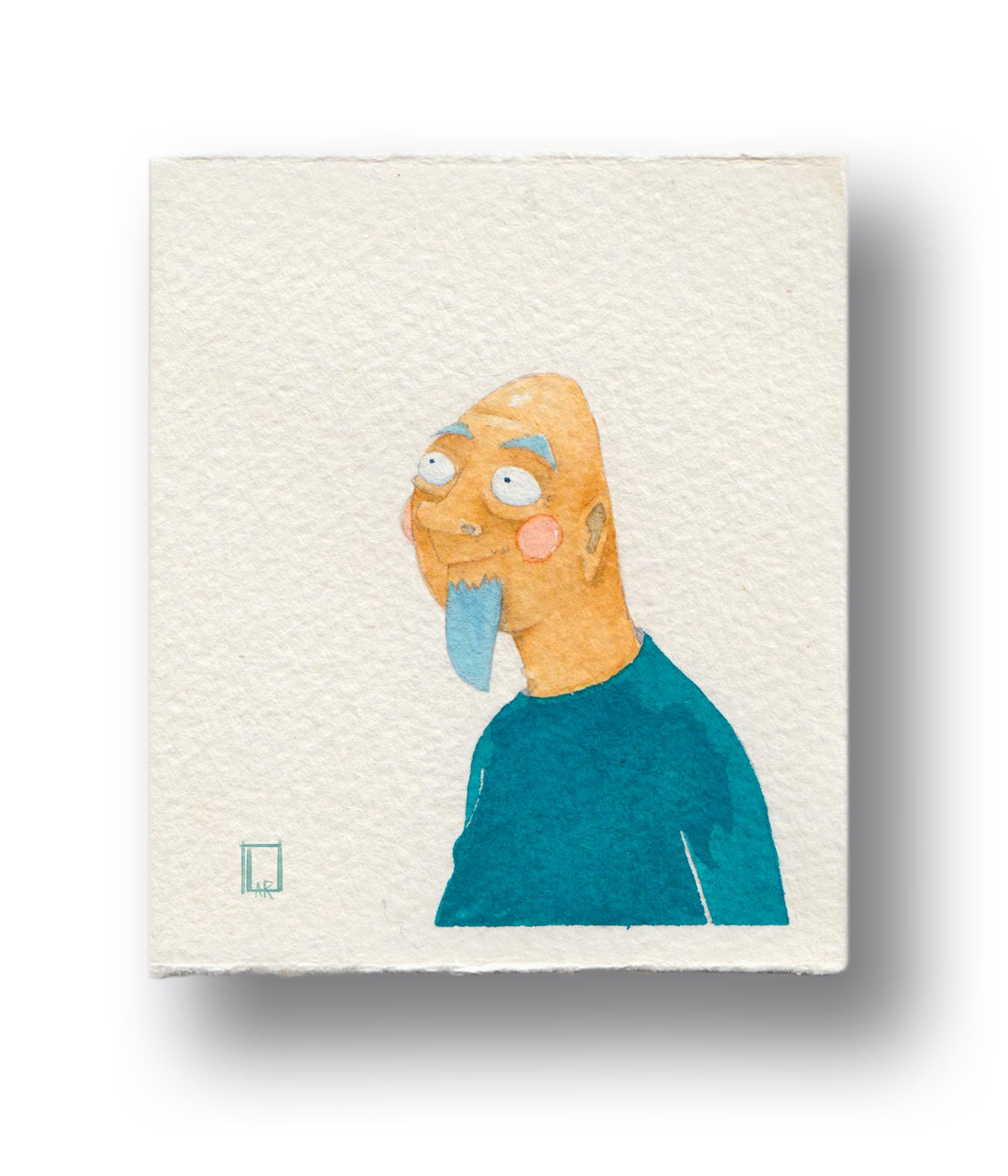 "Soup Guy at the market  Gouache & Watercolor  3.5 x 4"""