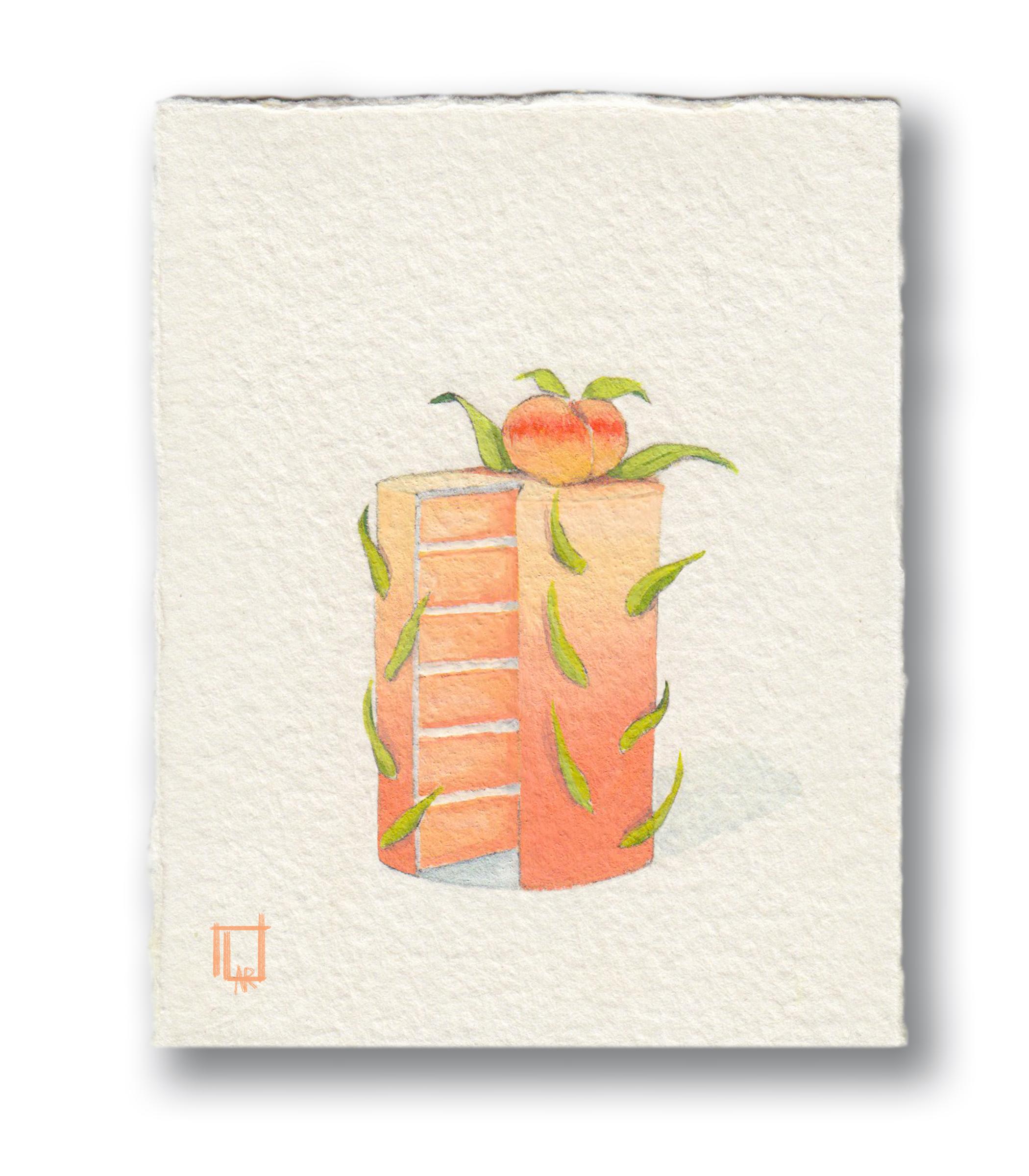 """Peach Cake  Gouache 3.5 x 4"""""""