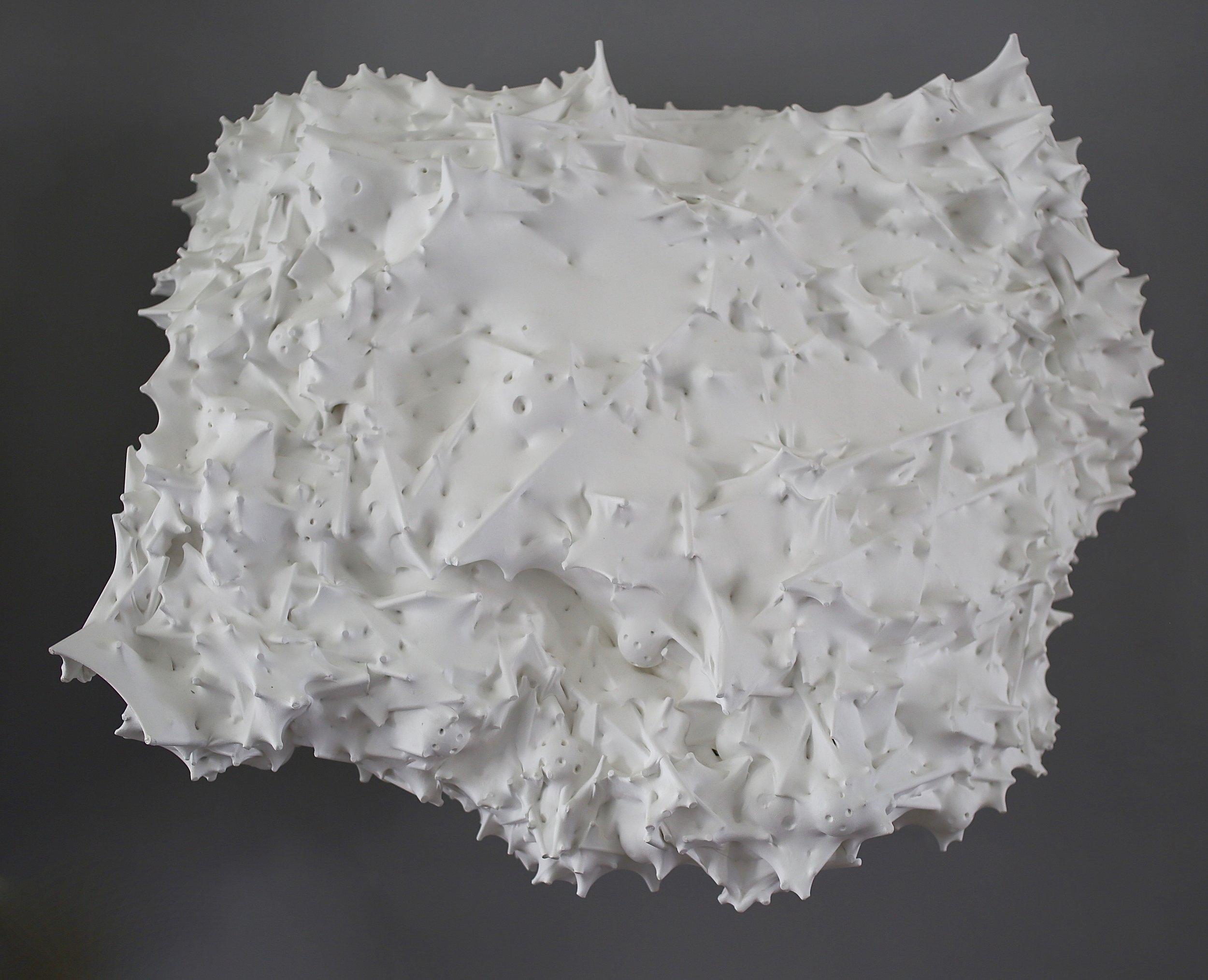 Untitled (cascading) , 2014  Silk, acrylic, wood, thread, plastic, epoxy  30 x 38 x 18 inches  76.2 x 96.5 x 45.7 cm