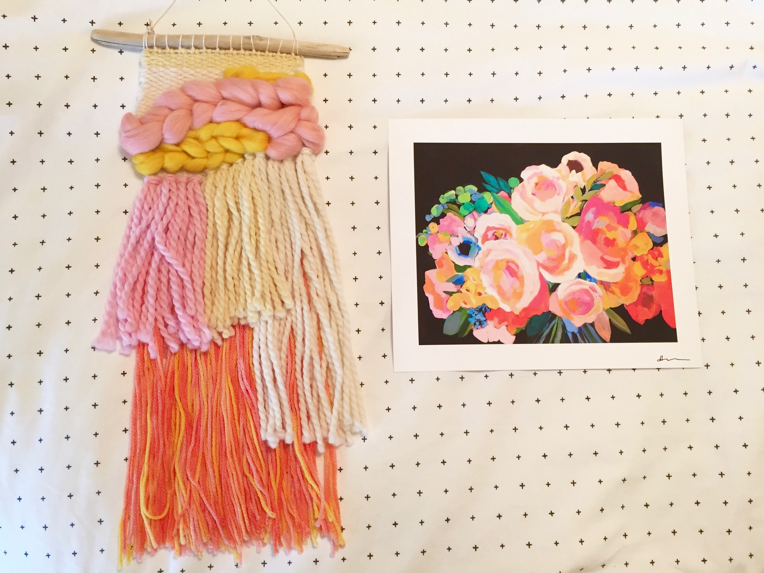 My weaving from Wool and Weave and an art print from Hayley Mitchell, both purchased at The Dallas Flea.