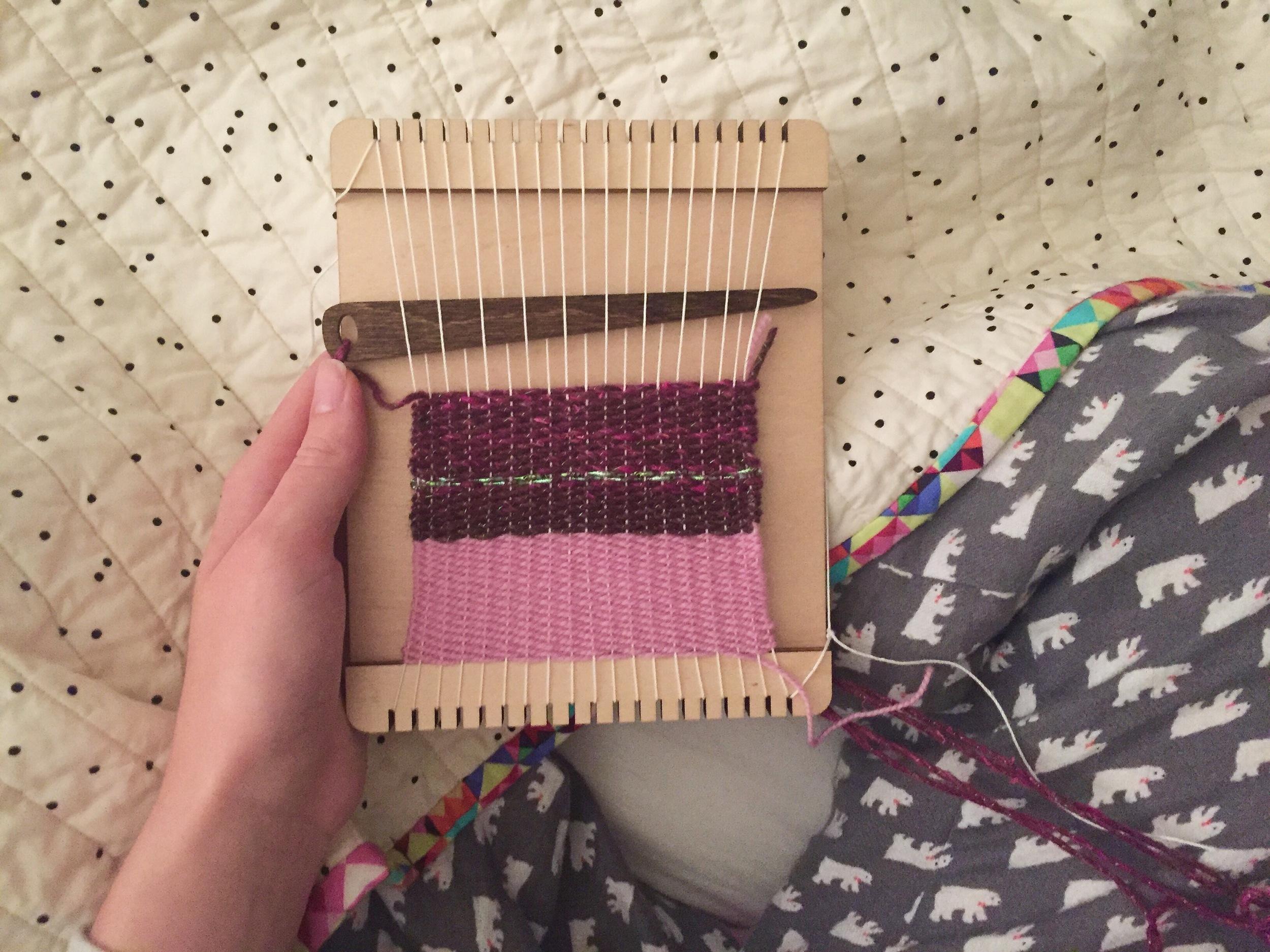 Gettin' cozy with my mini loom.