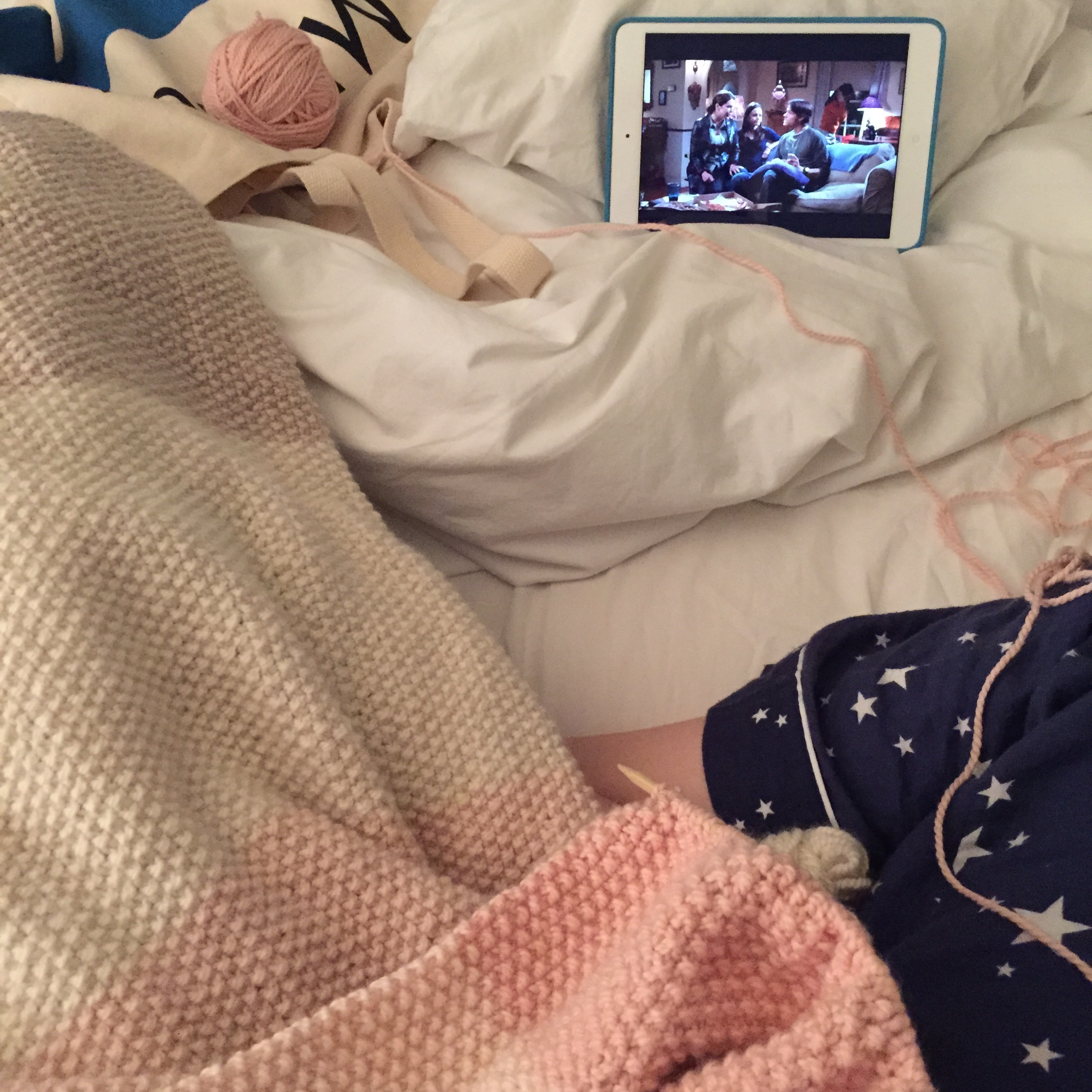 February 24, 2015- most of my photos look like this- pjs, knitting, and Gilmore Girls. Not many photos exist between this one and August because I was finishing up my Masters degree and had less time for knitting.