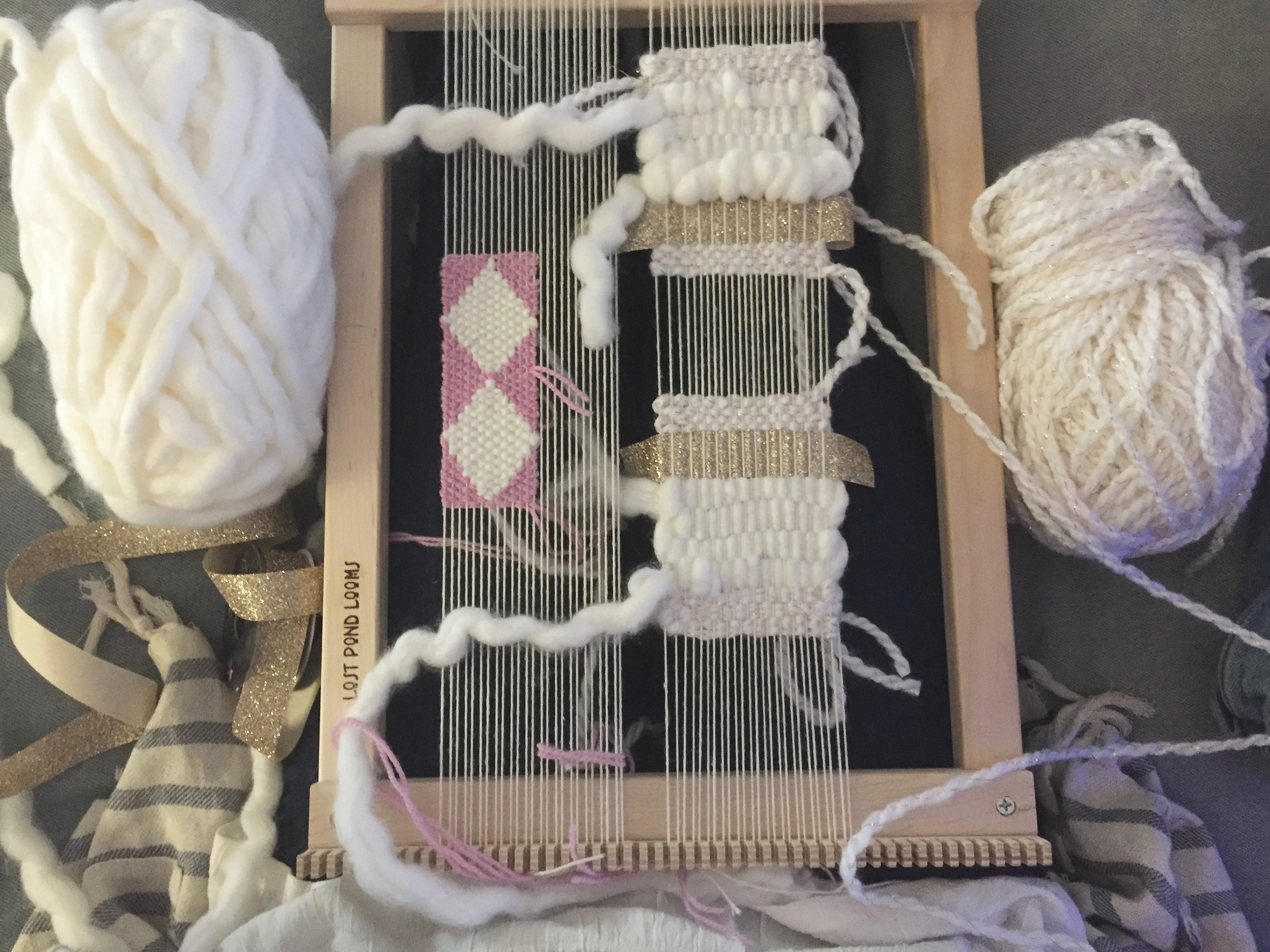 The good thing about mini weavings is that you can make multiples on the same loom at the same time!