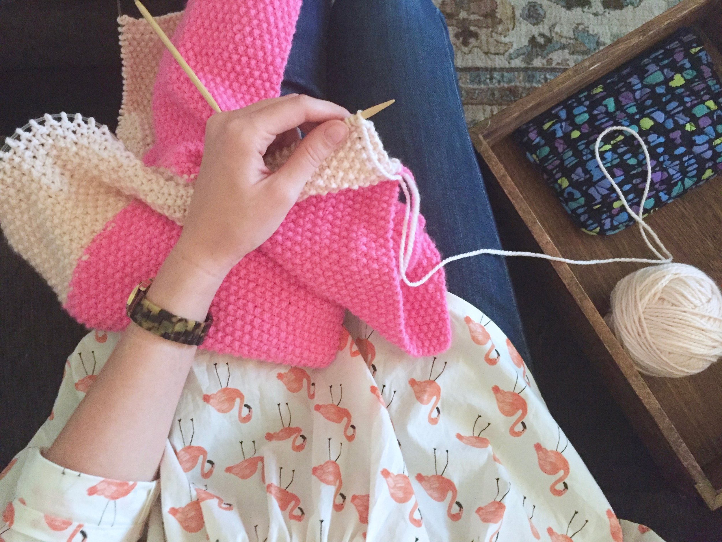 Is it really my blog if I don't post an artsy photo of me knitting while wearing my newest FO?