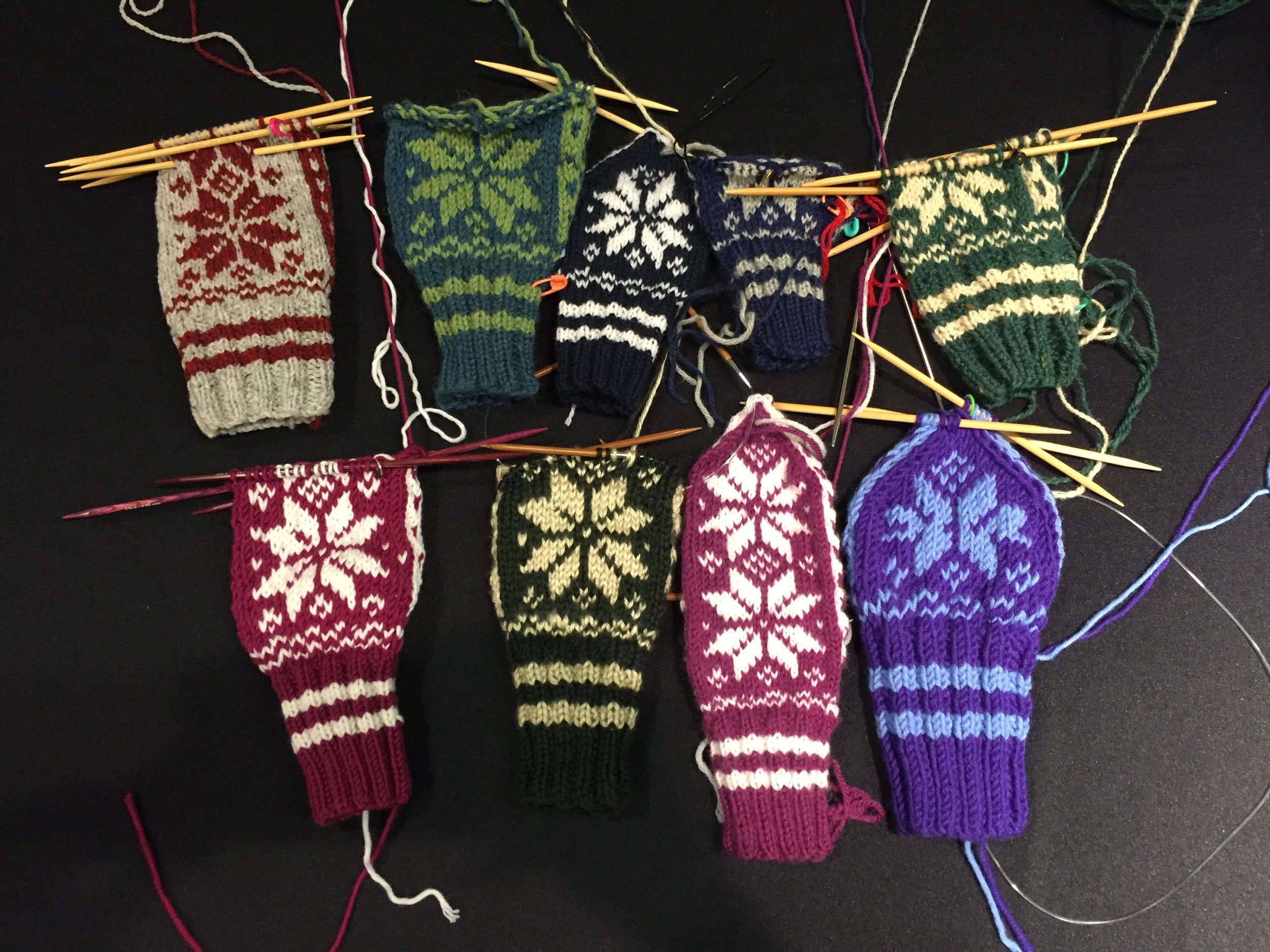 all of the student mittens! (note that I am apparently a super speedy knitter and got further than everyone else...#humblebrag)