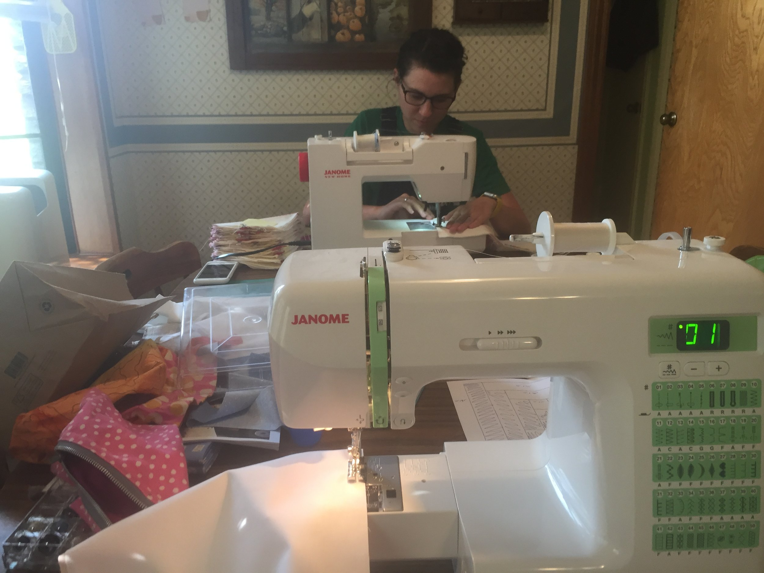 Sewing with my sister! So fun. We both sew on  Janomes  because they are THE BEST. I sew on a DC2012 and Lauren sews on a DC2015.