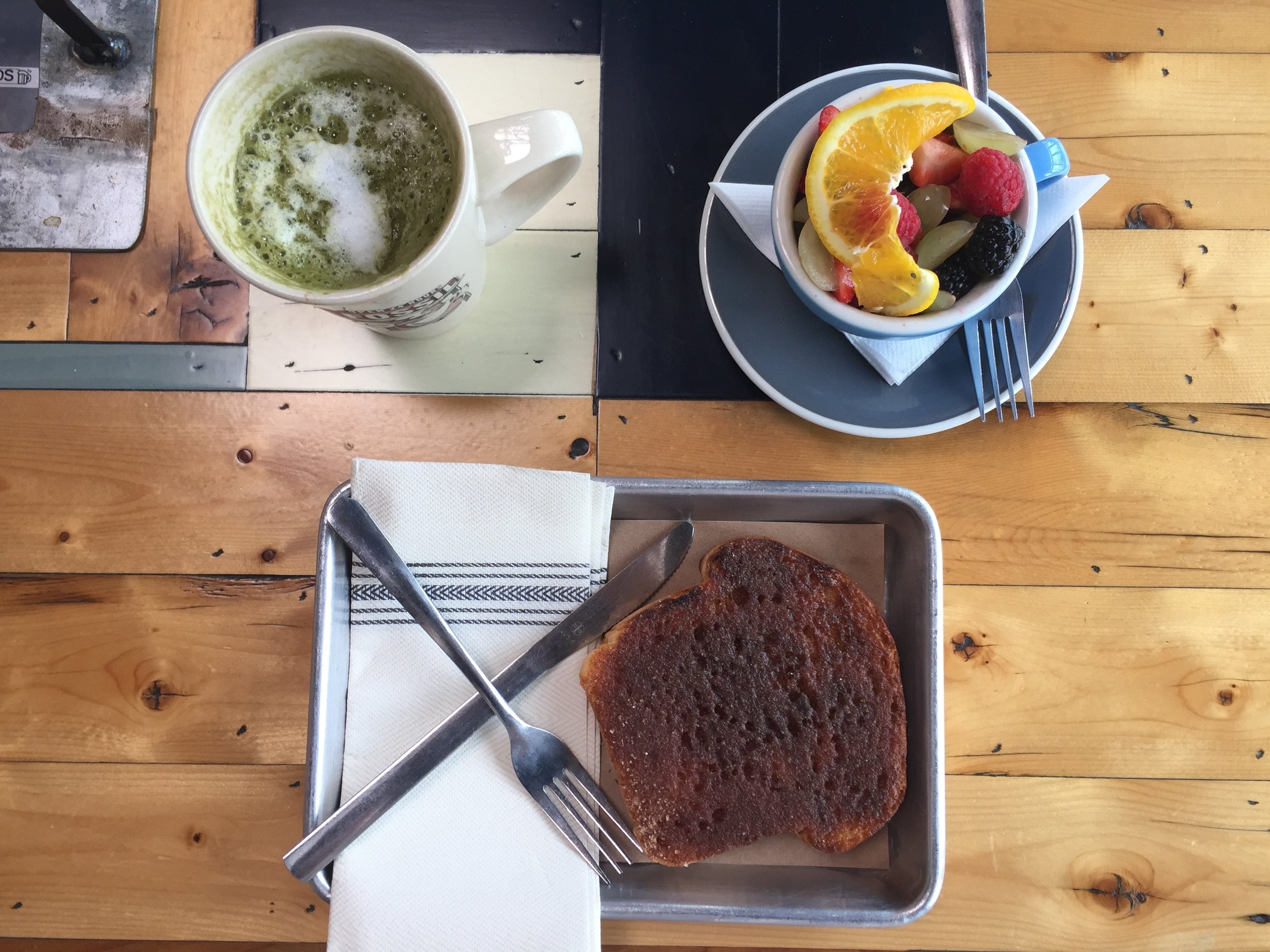 "I had lunch with several friends at one of my favorite spots, Toasted. Their ""coma-toast"" is so so good and their matcha lattes aren't bad either!"